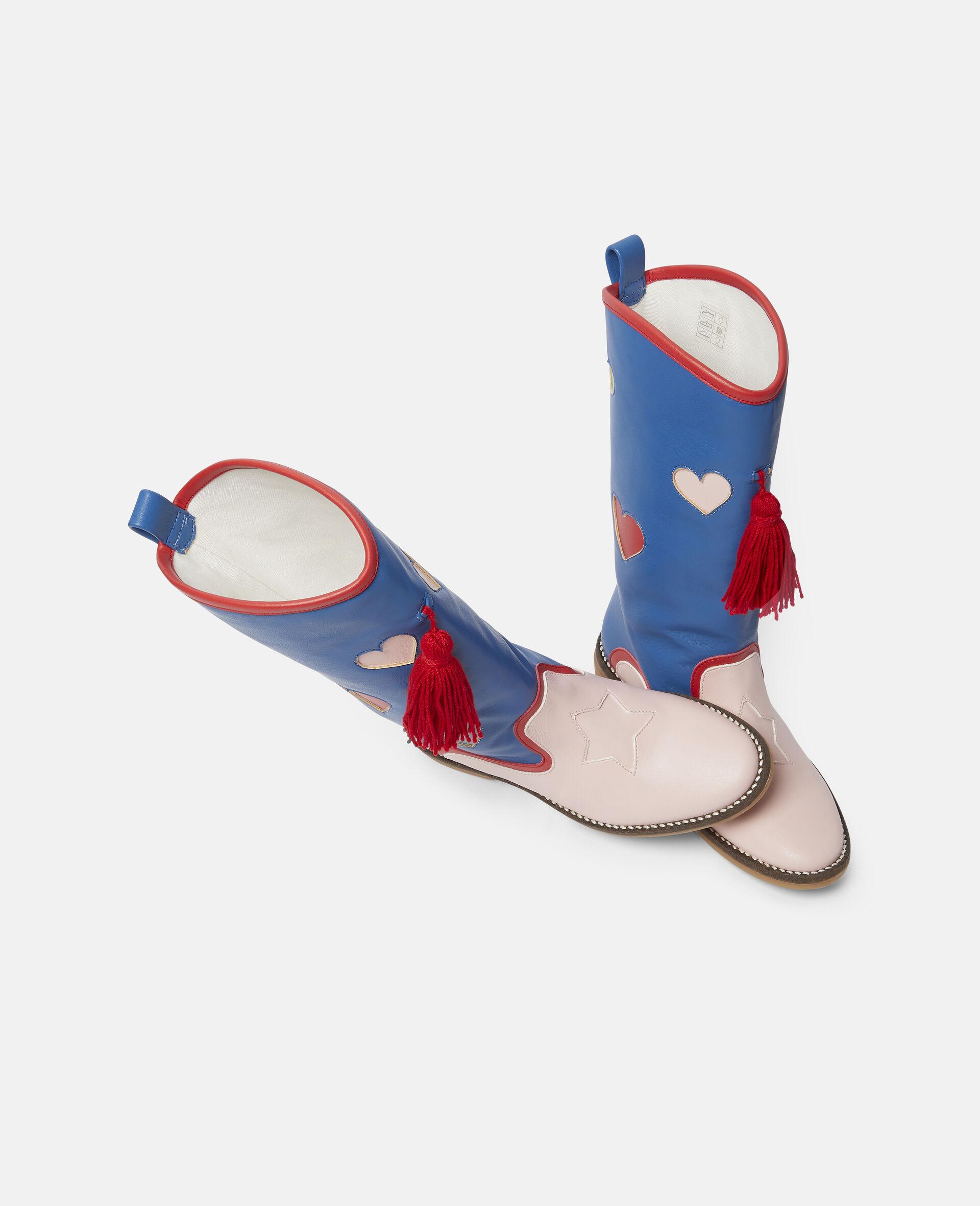 Bottes à pompons motif cœurs-Bleu-large image number 1