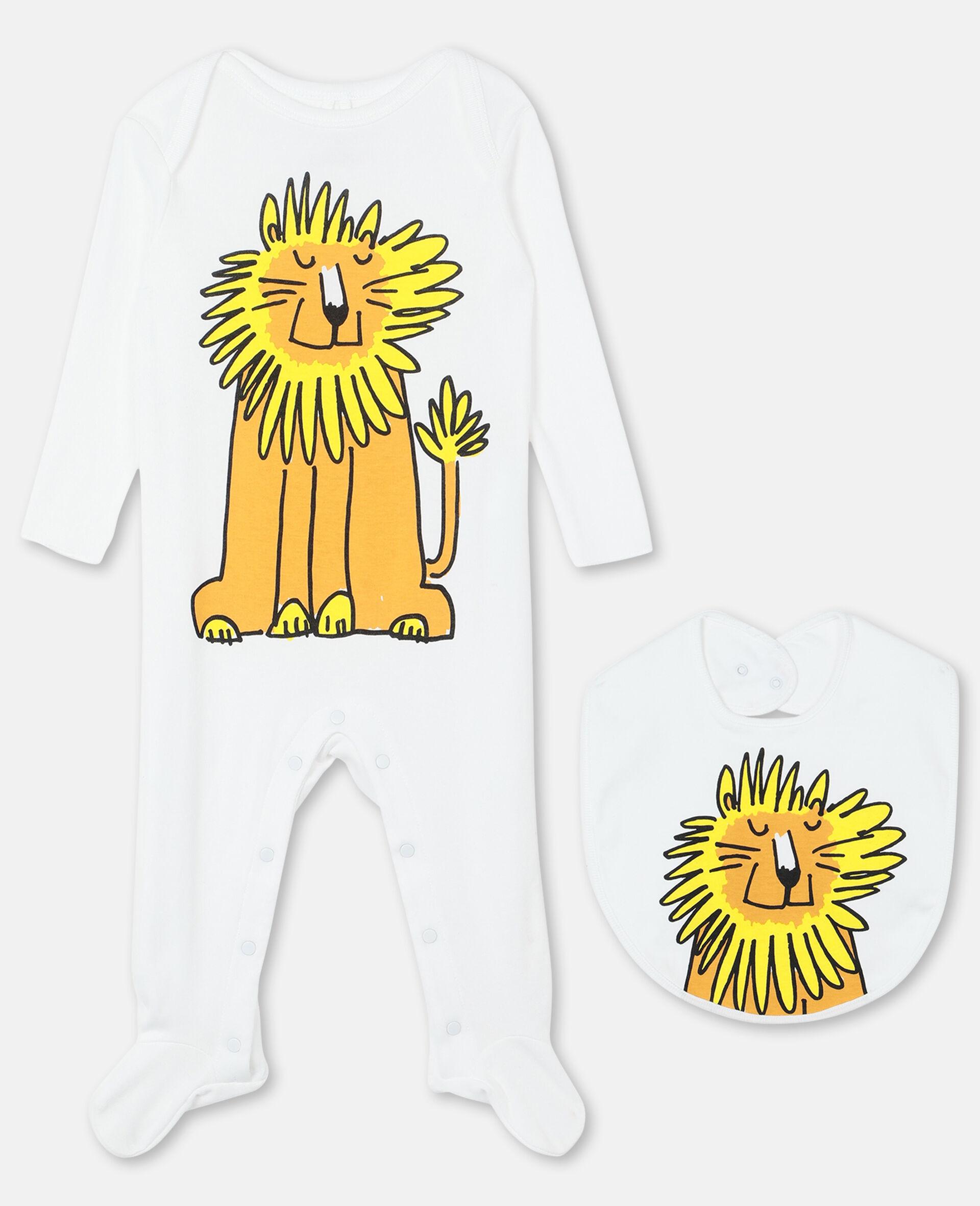 Ensemble grenouillère et bavoir lion en coton-Blanc-large image number 0