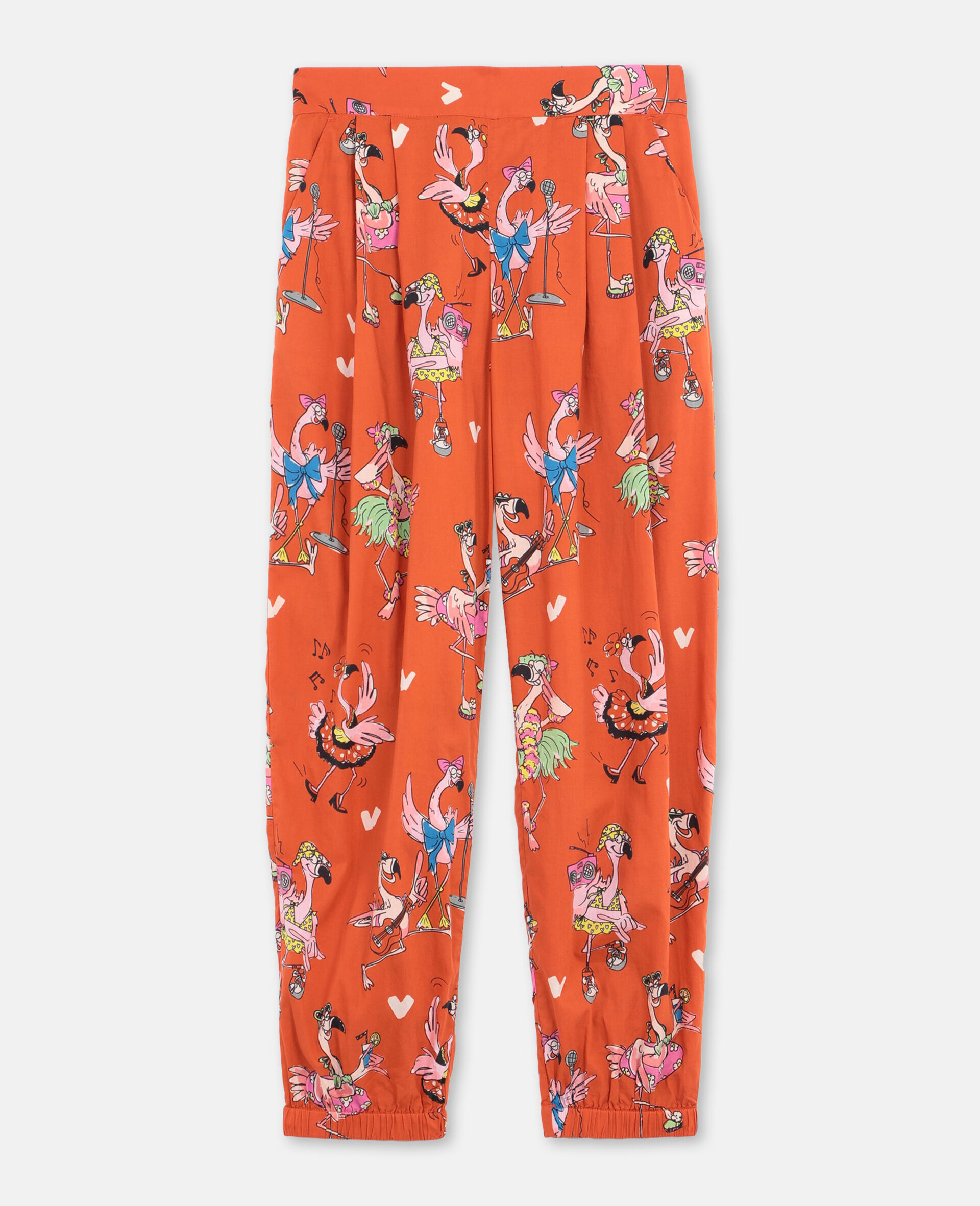 Flamingo Party Cotton Trousers-Red-large image number 0