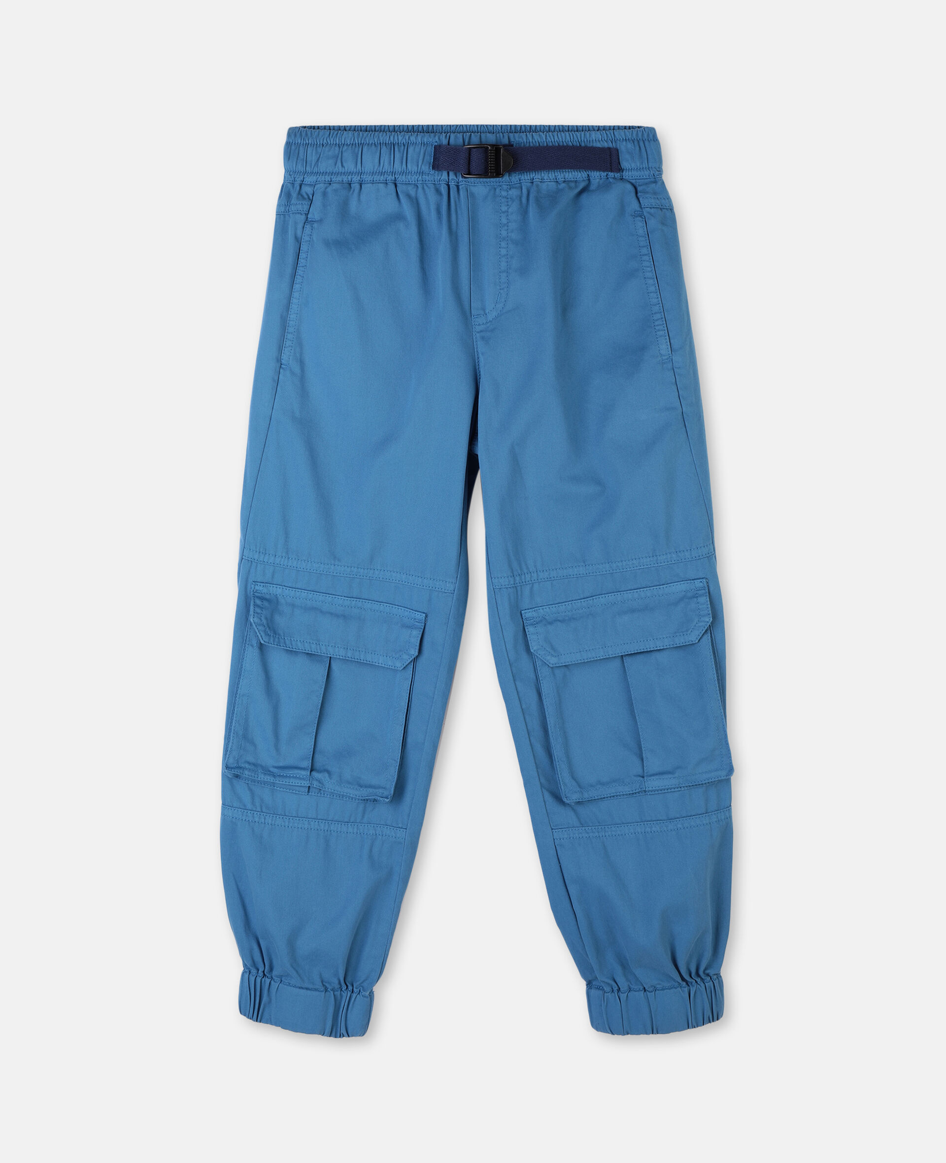 Cotton Twill Cargo Trousers -Blue-large image number 0