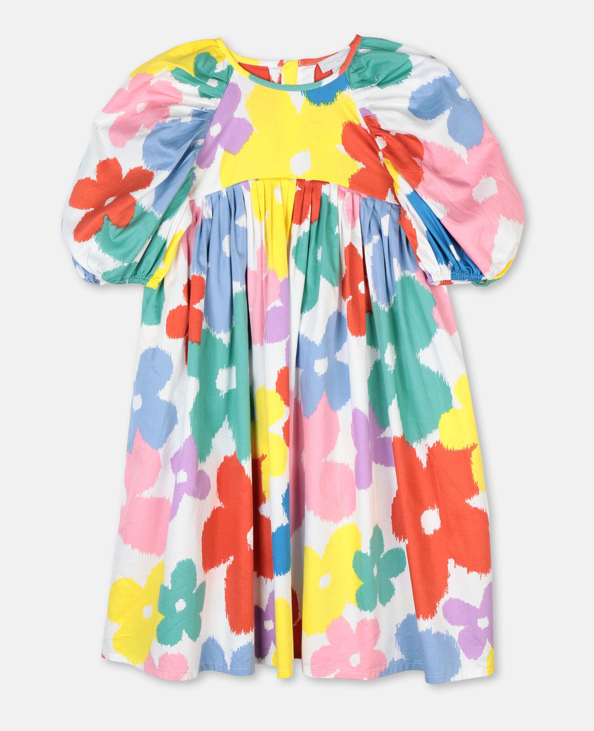 Flowers Cotton Dress-Multicolour-large image number 0