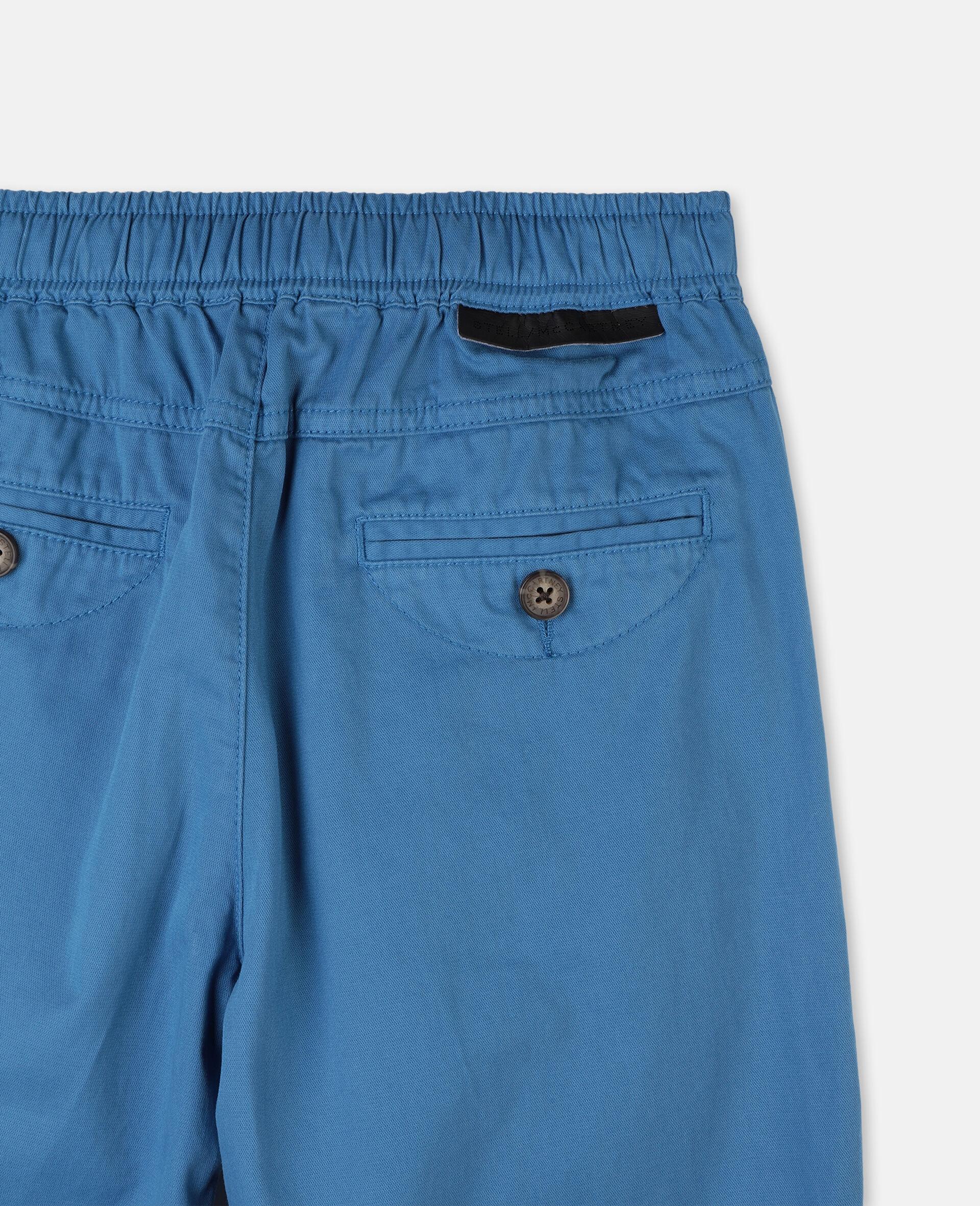 Pantalon cargo en sergé de coton -Bleu-large image number 2