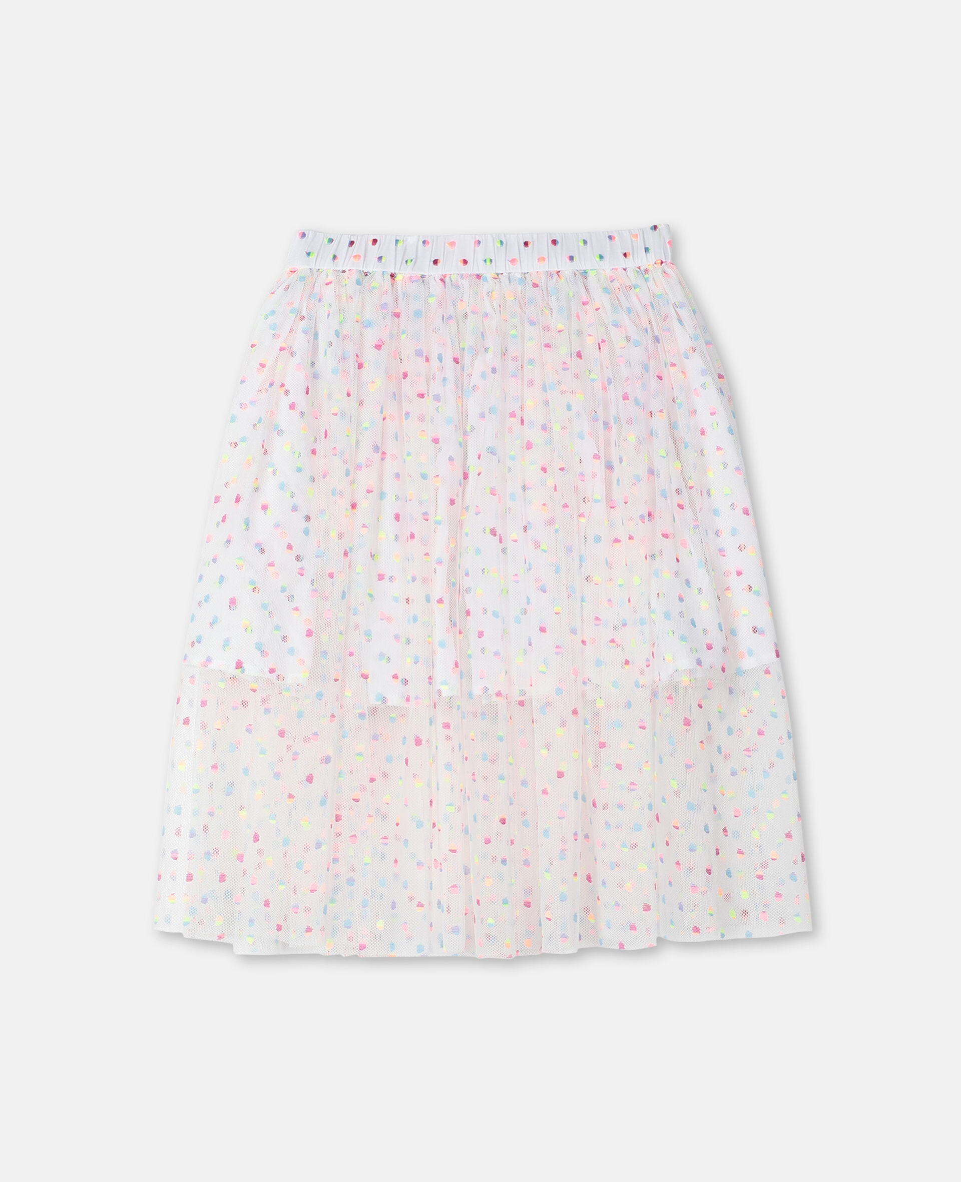 Embroidered Dots Tulle Skirt -Multicoloured-large image number 0