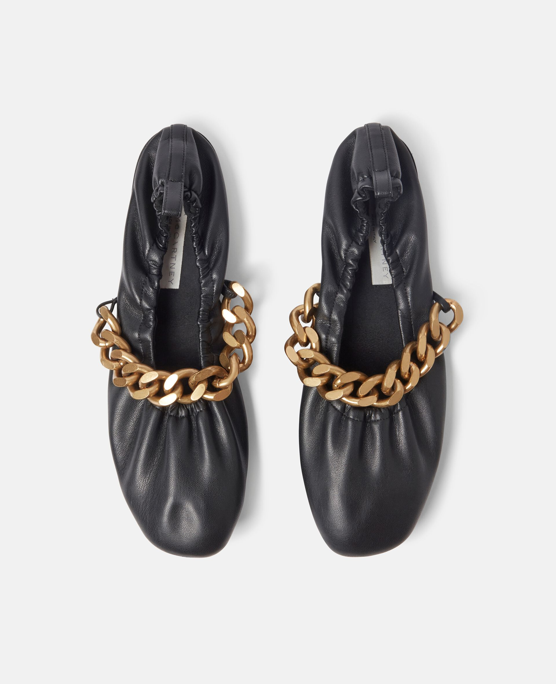 Falabella Chunky Chain Ballet Flats-Black-large image number 3