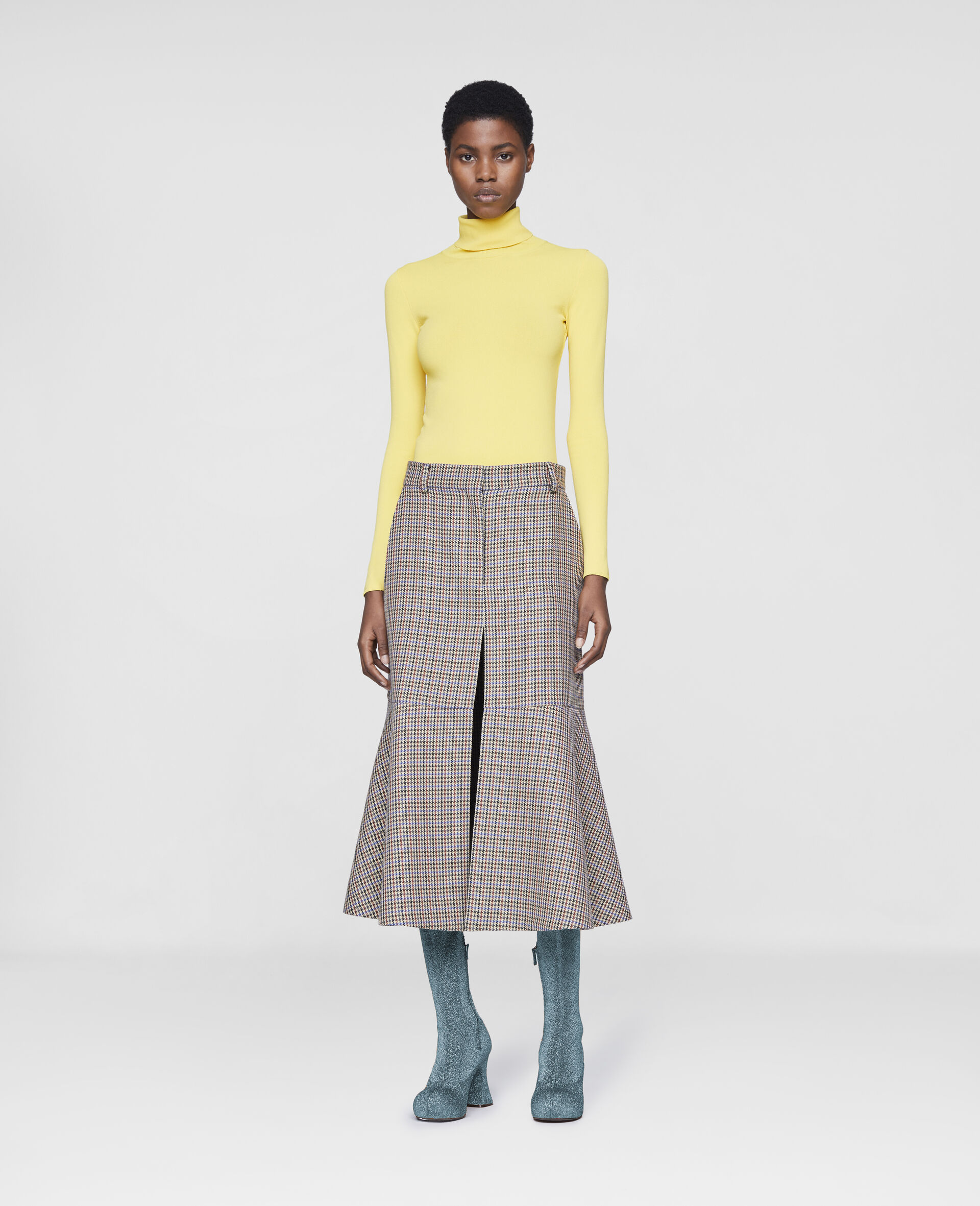 Compact Knit Top-Yellow-large image number 1