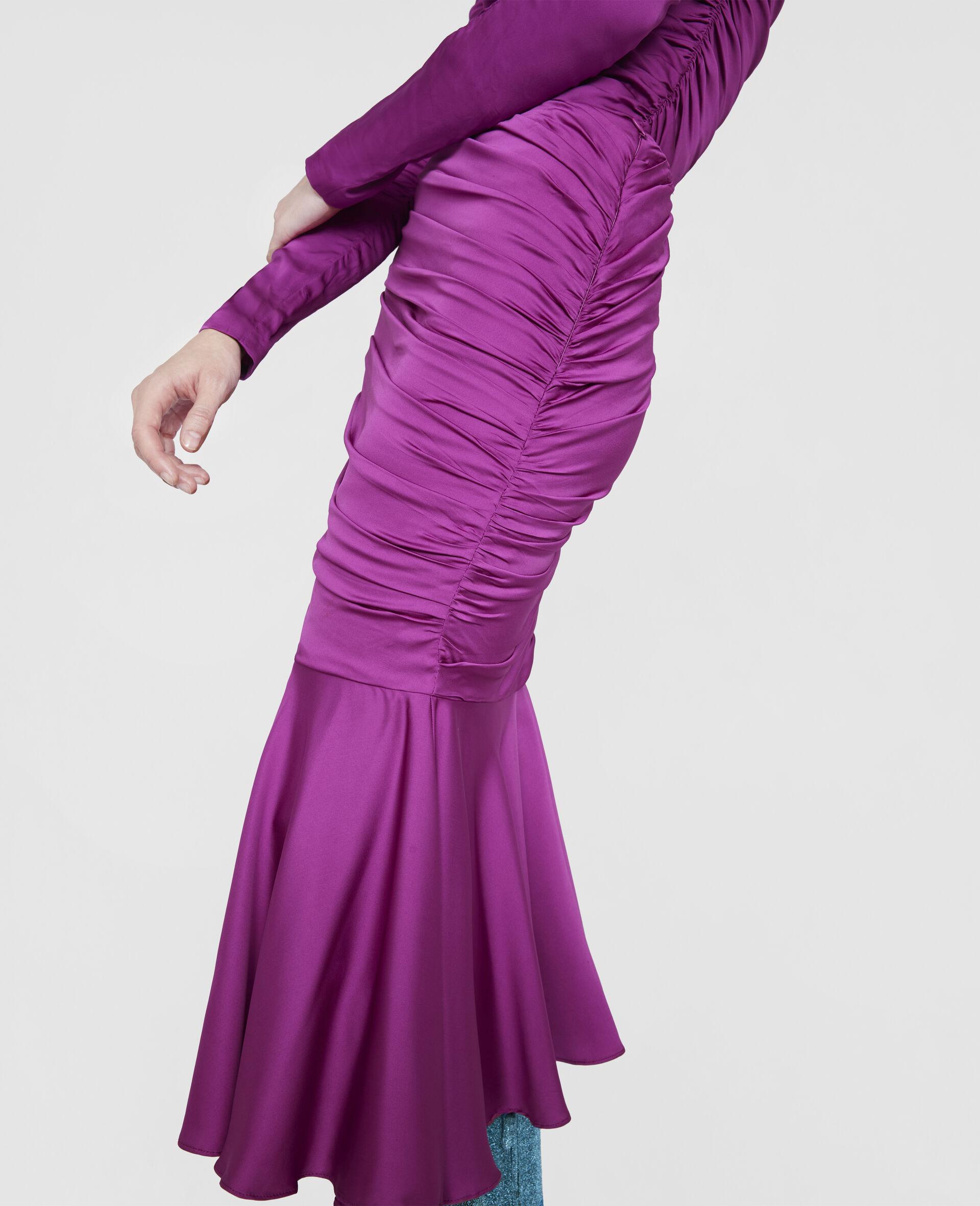 Henley Ruched Godet Skirt-Purple-large image number 3