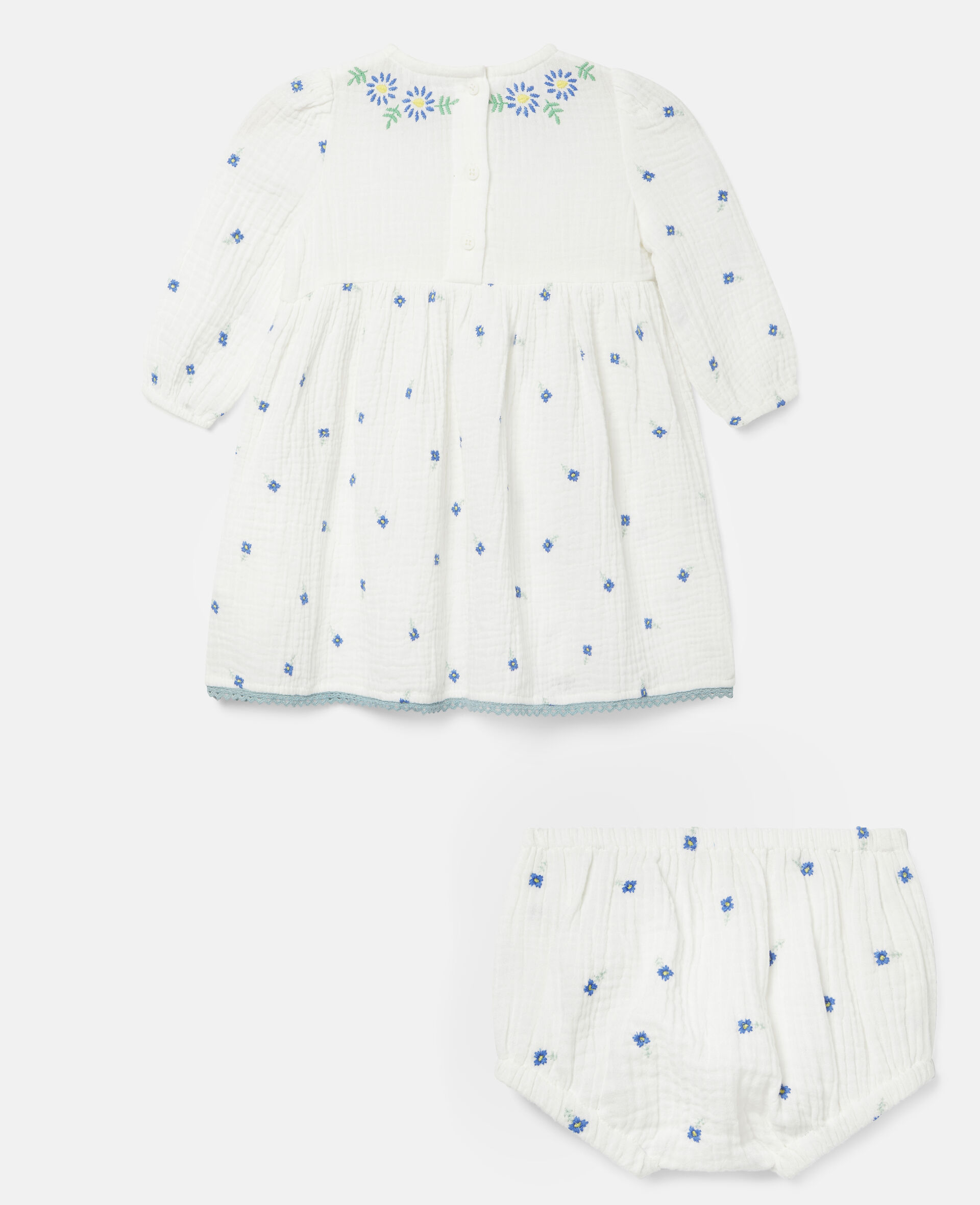 Embroidered Flowers Cotton Dress-White-large image number 3