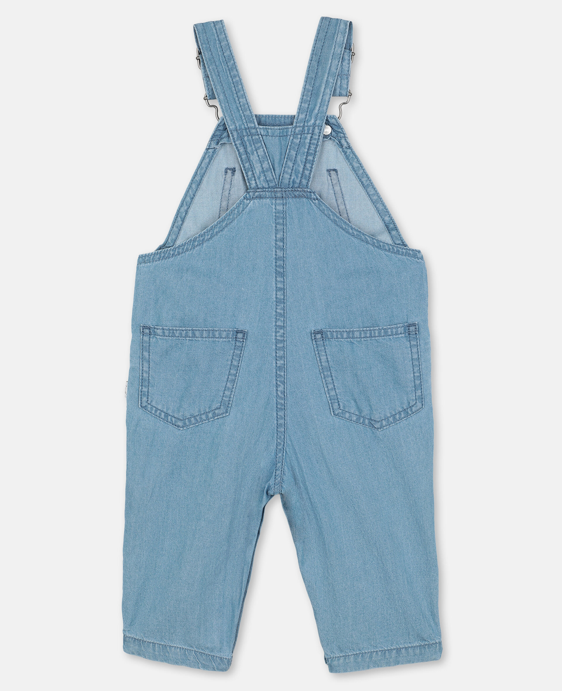 Embroidered Cats Cotton Chambray Dungarees-Blue-large image number 3
