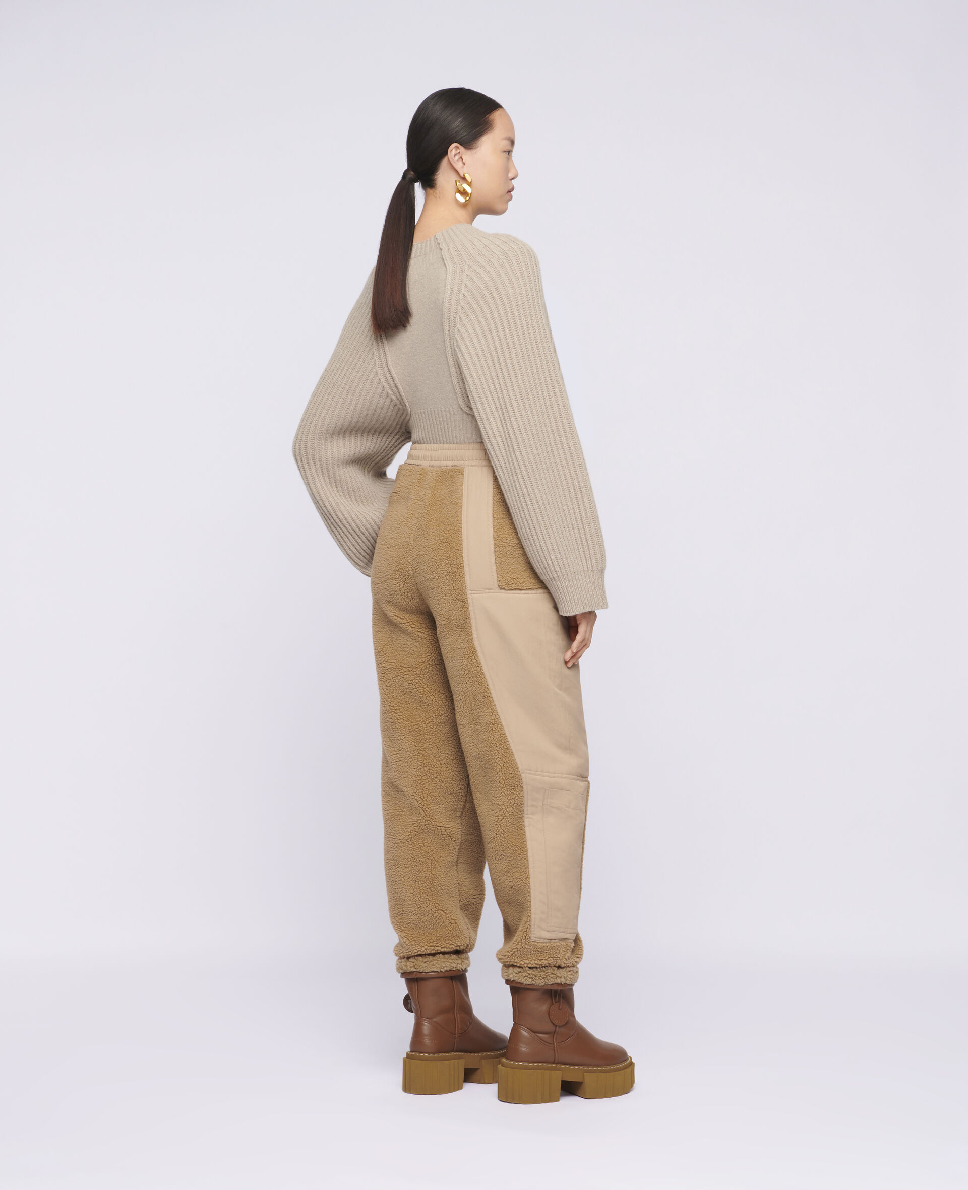 Cropped Knit Sweater -Beige-large image number 2
