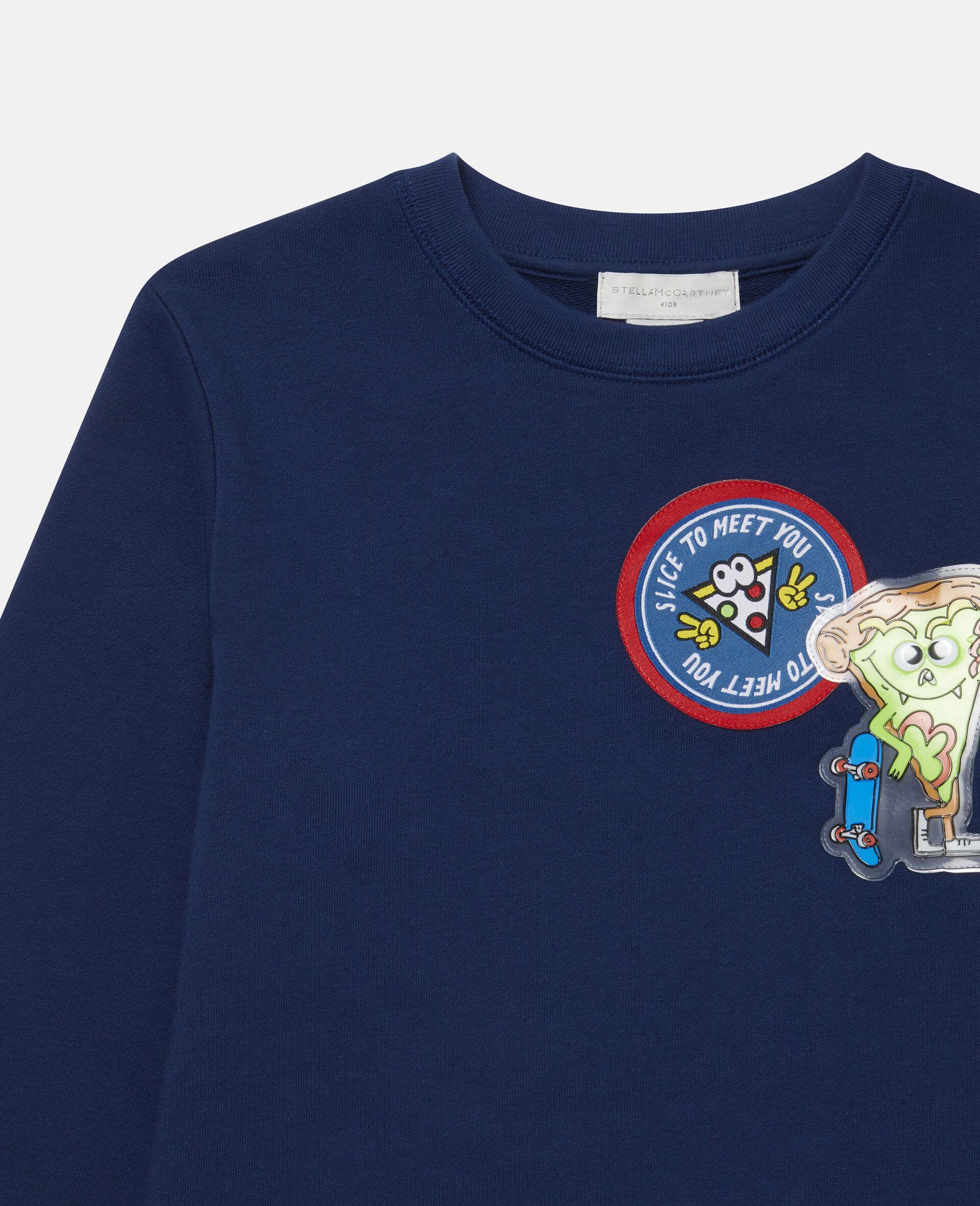 Sweat-shirt en polaire à écussons pizza-Bleu-large image number 1
