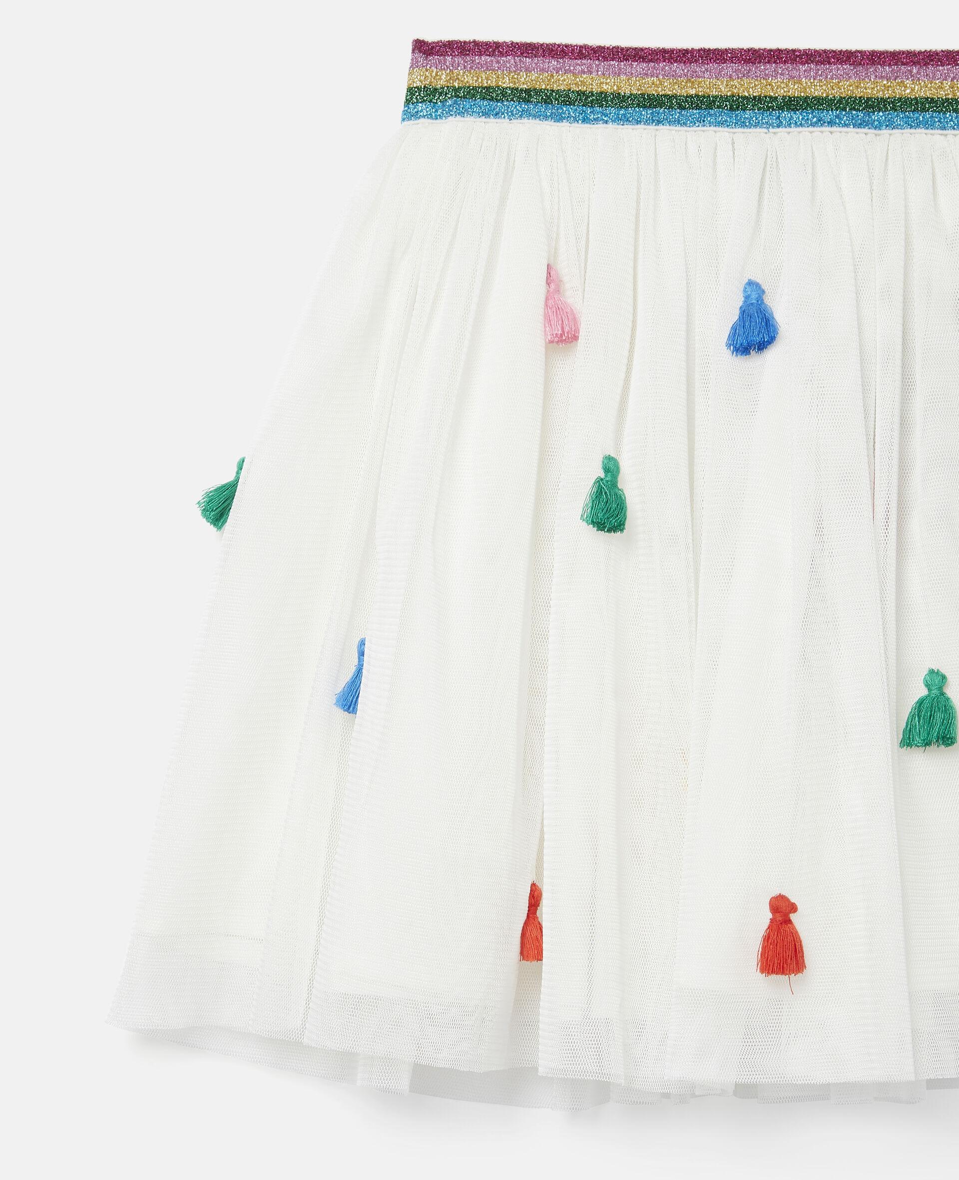 Tassels Tulle Skirt -White-large image number 2