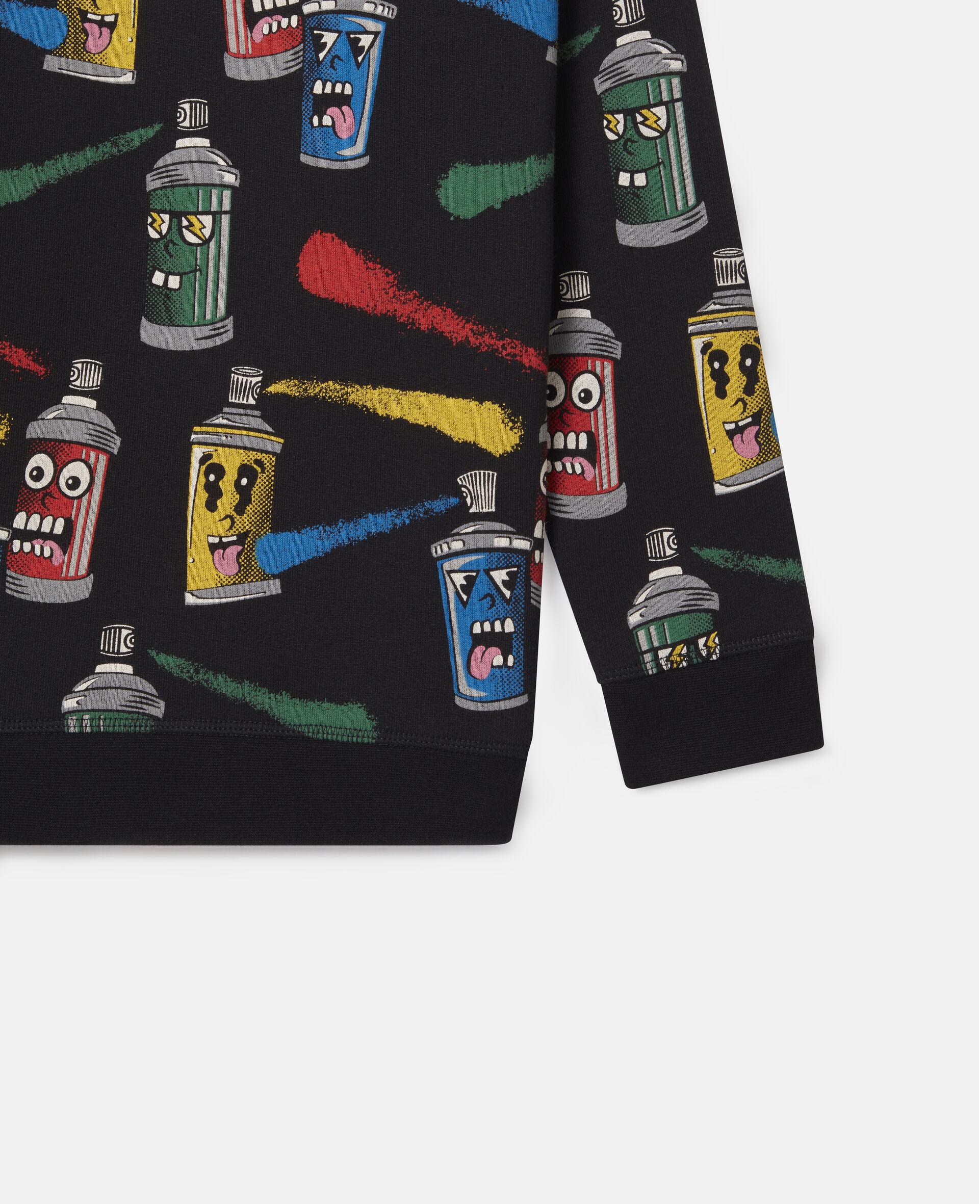 "Sweatshirt aus Fleece mit ""Painting Faces""-Print-Schwarz-large image number 0"