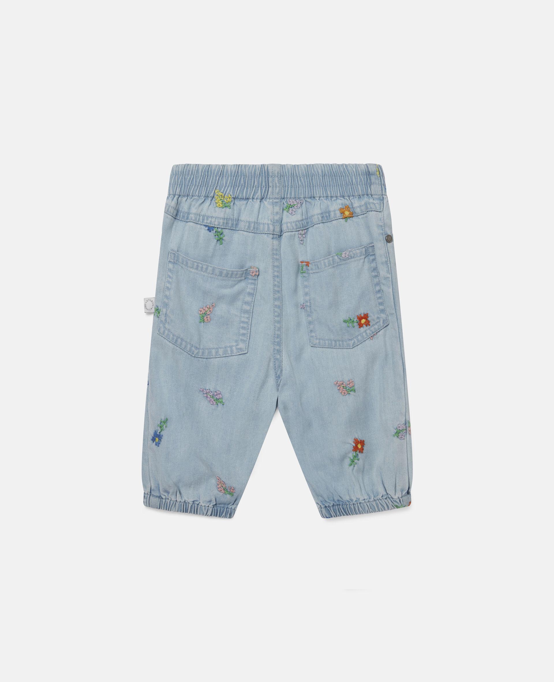 Jeans in Denim con Fiori Ricamati-Blu-large image number 3