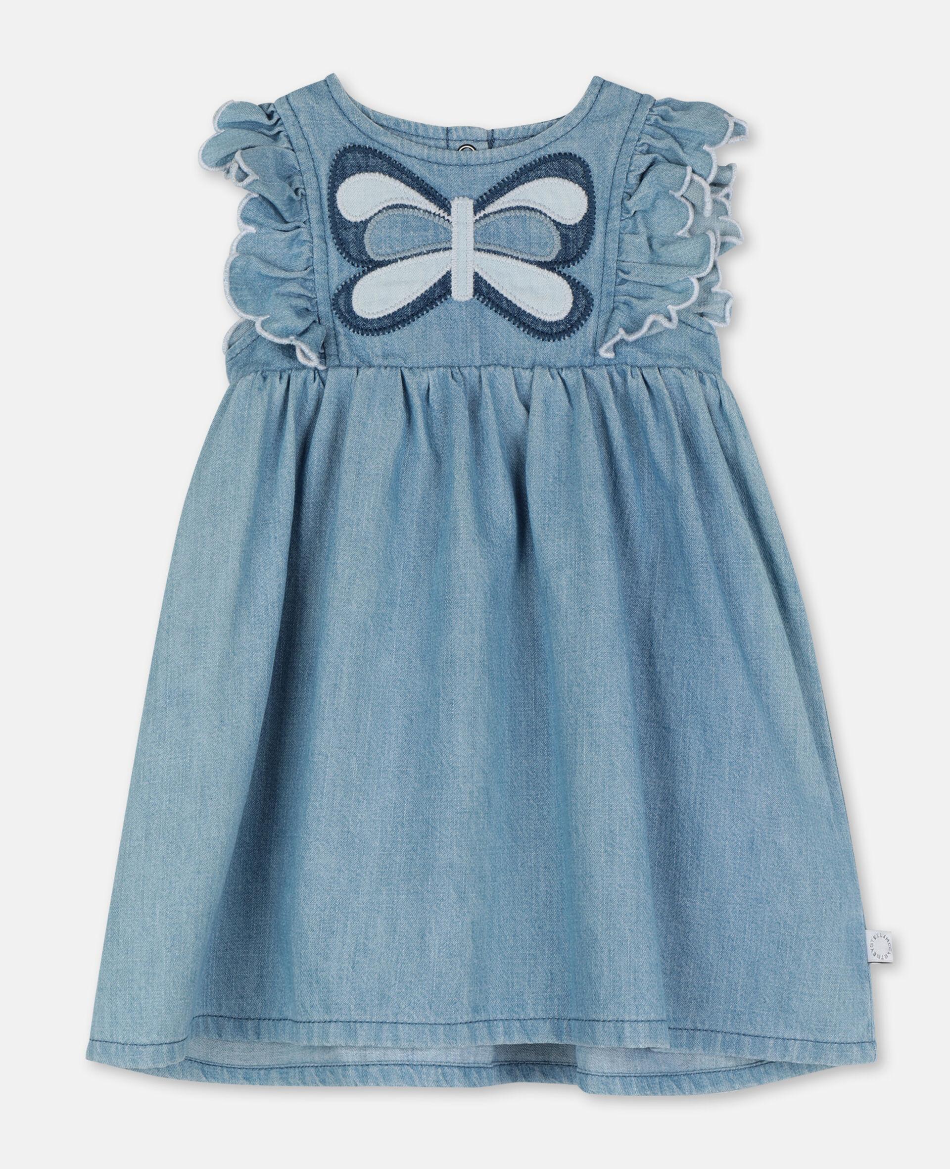 Shorts aus Denim mit Schmetterling-Aufnäher-Blau-large image number 0