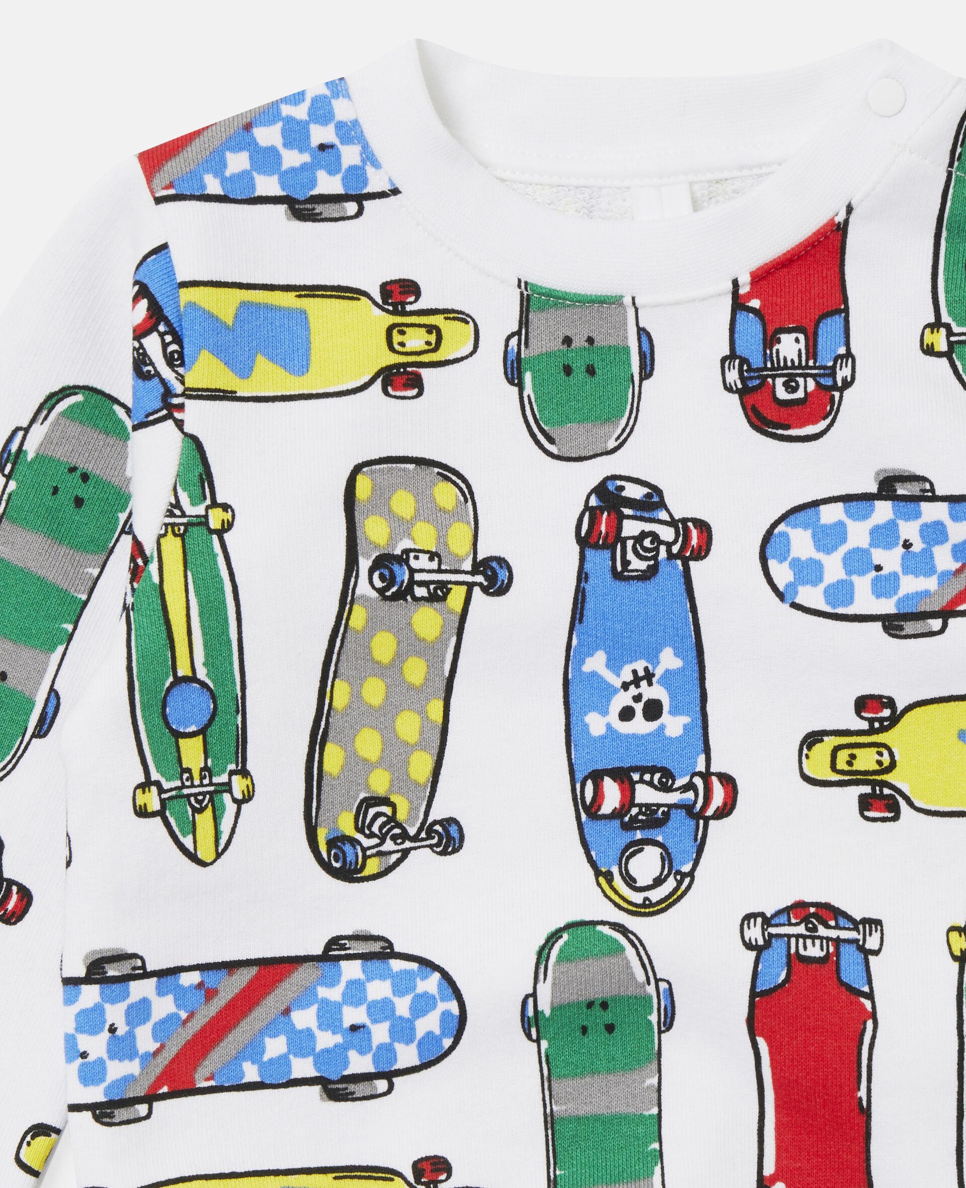 Fleece-Sweatshirt mit Skateboardmotiv-Weiß-large image number 1