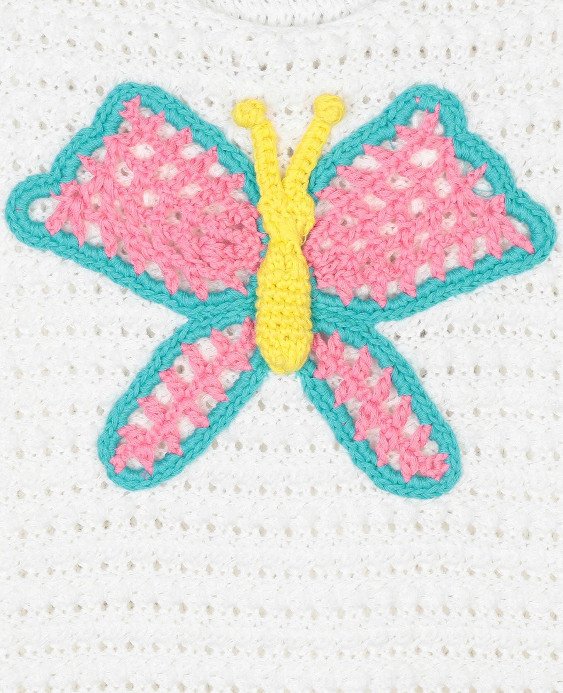 Baumwoll-Top mit Schmetterling-Häkelaufnäher-Weiß-large image number 1