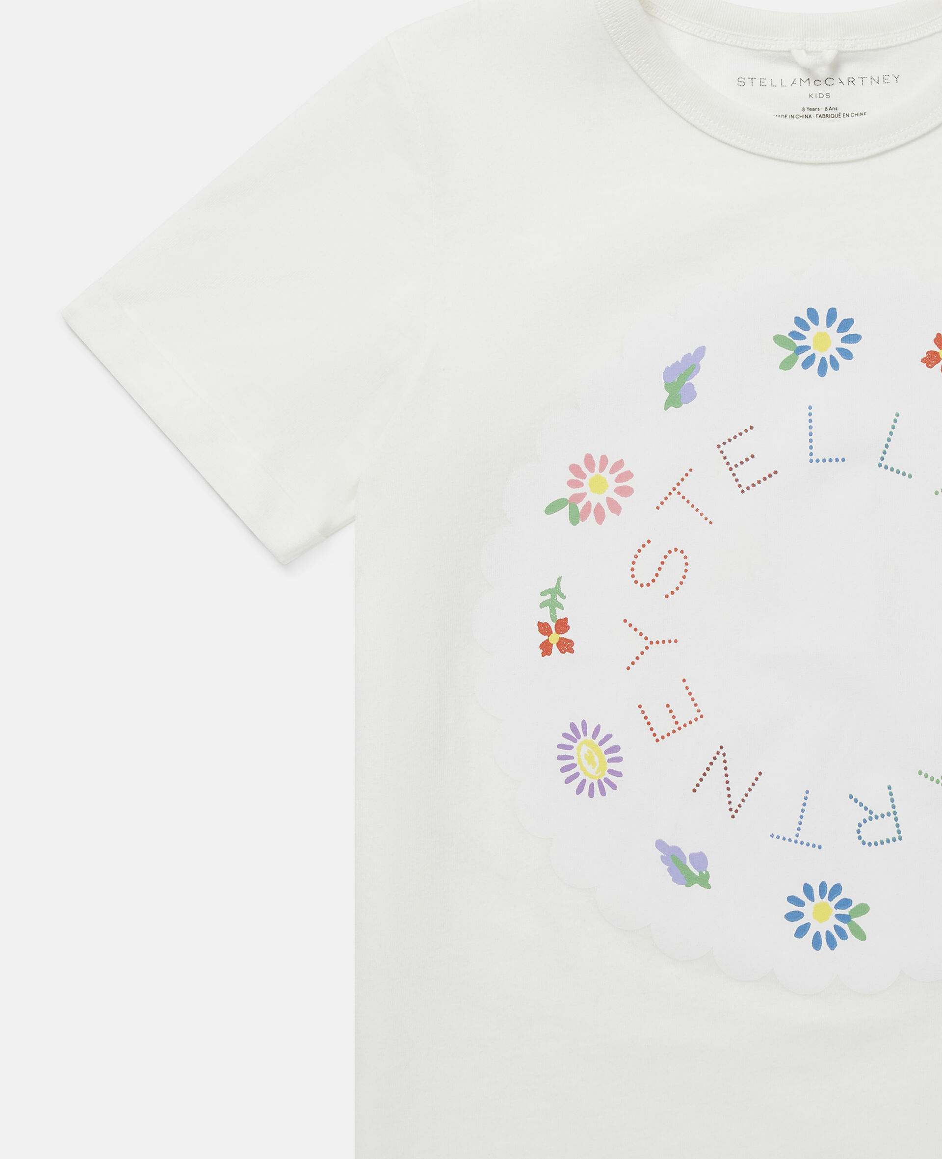 T-shirt con Logo e Fiori-Bianco-large image number 2