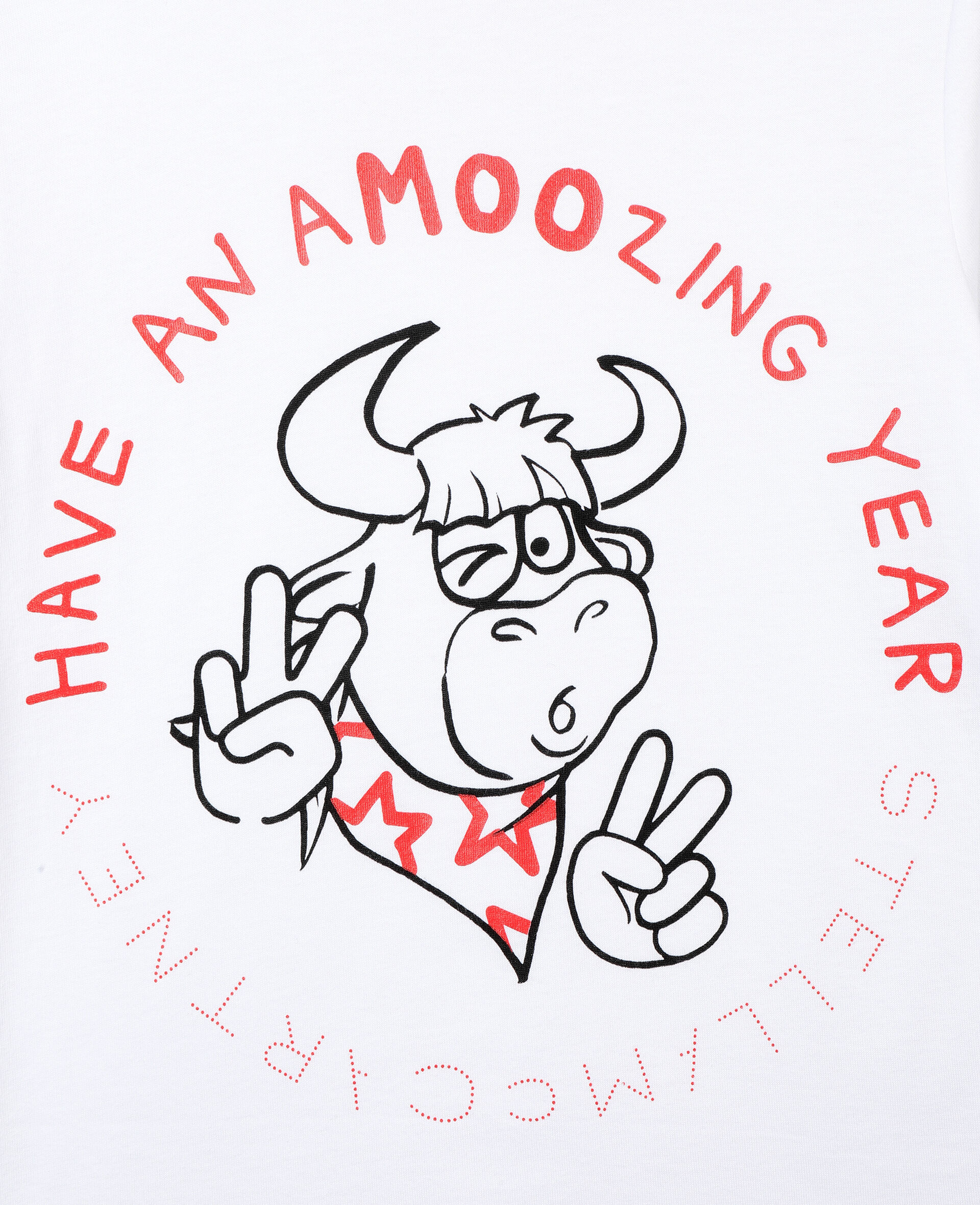 Baumwoll-T-Shirt mit Chinesisches-Neujahr-Print -Weiß-large image number 1