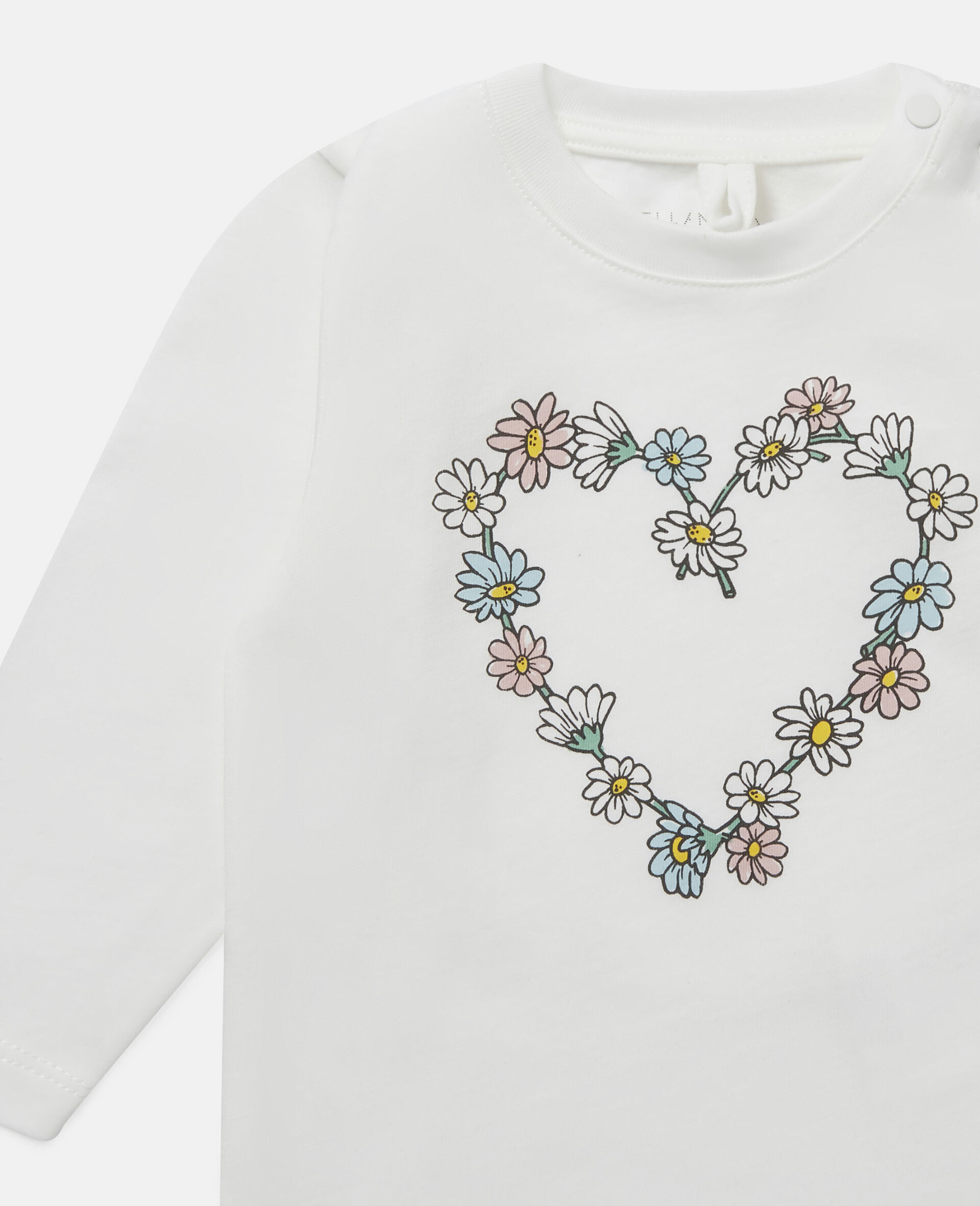 Daisy Heart Cotton Top-White-large image number 1
