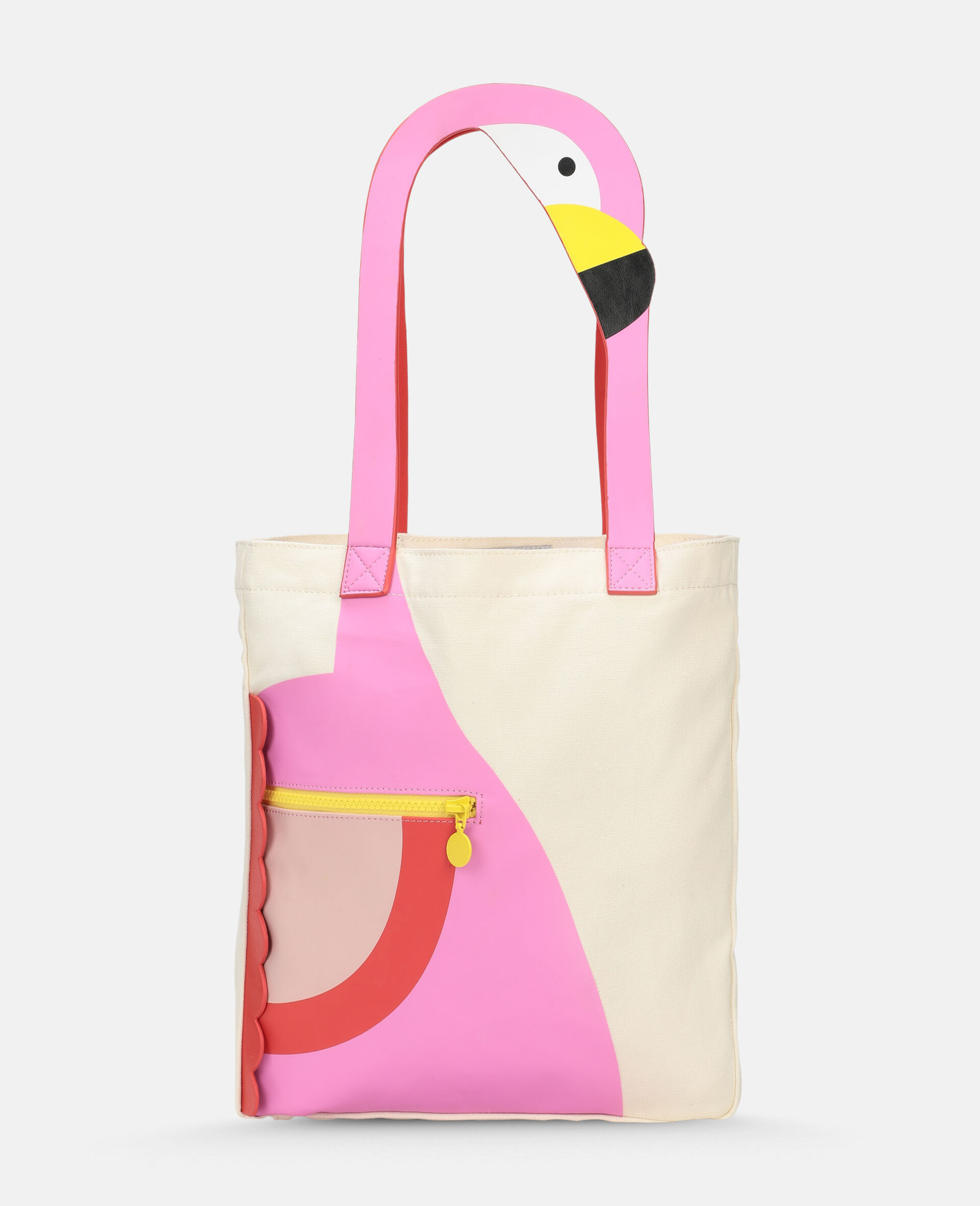 Flamingo Canvas Tote Bag -White-large image number 0