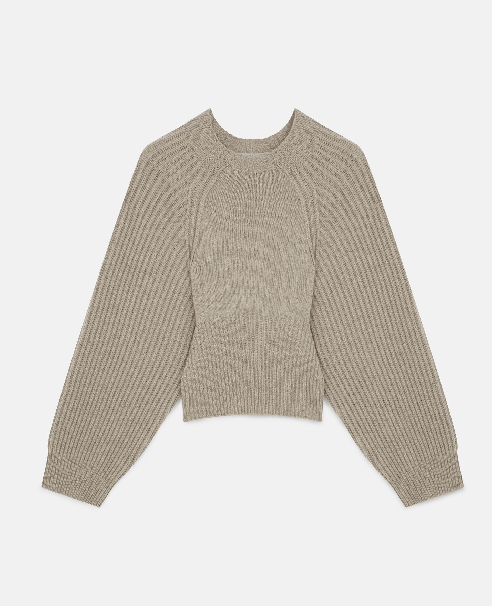 Cropped Knit Sweater -Beige-large image number 0