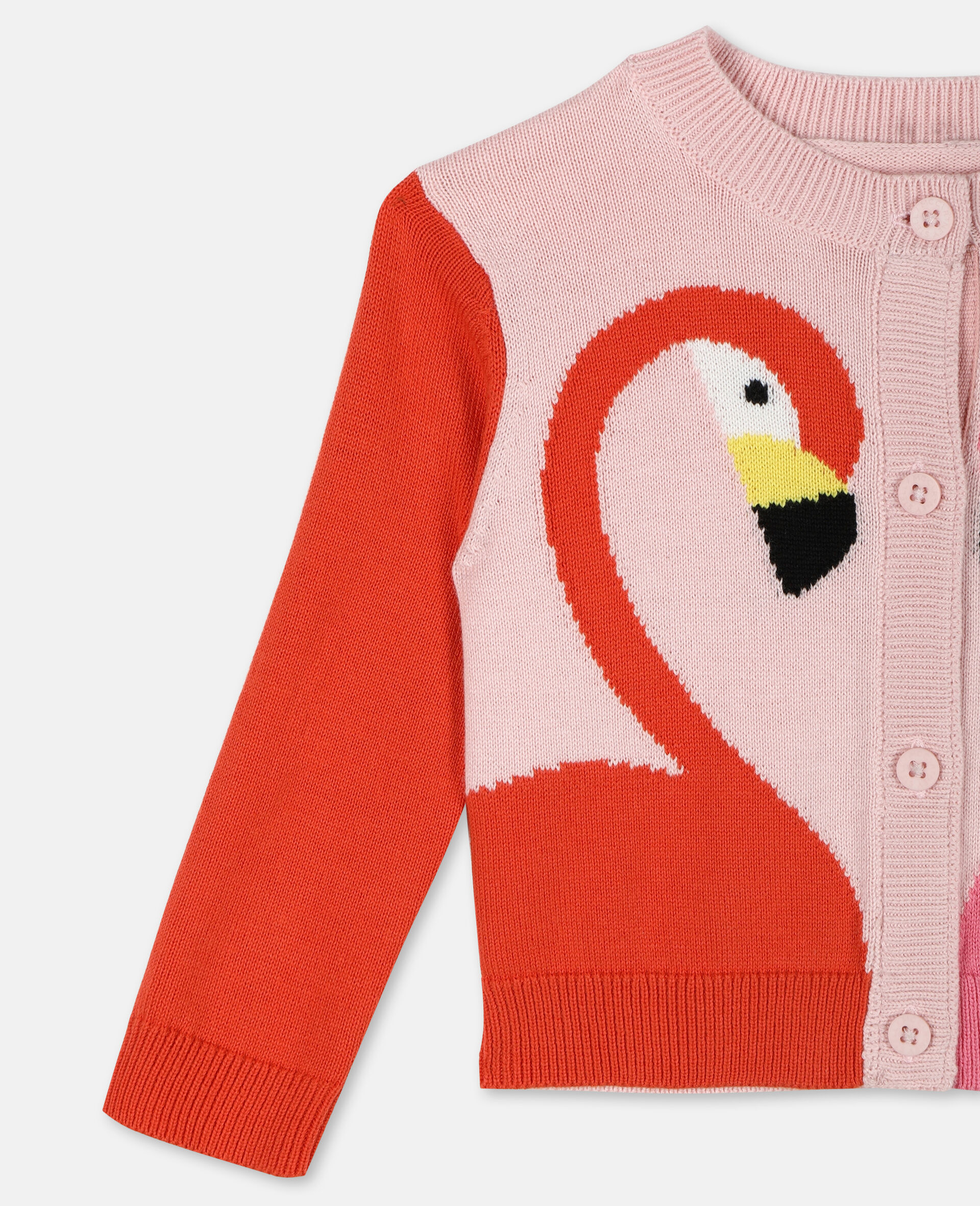 Flamingo Intarsia Knit Cotton Cardigan -Pink-large image number 1