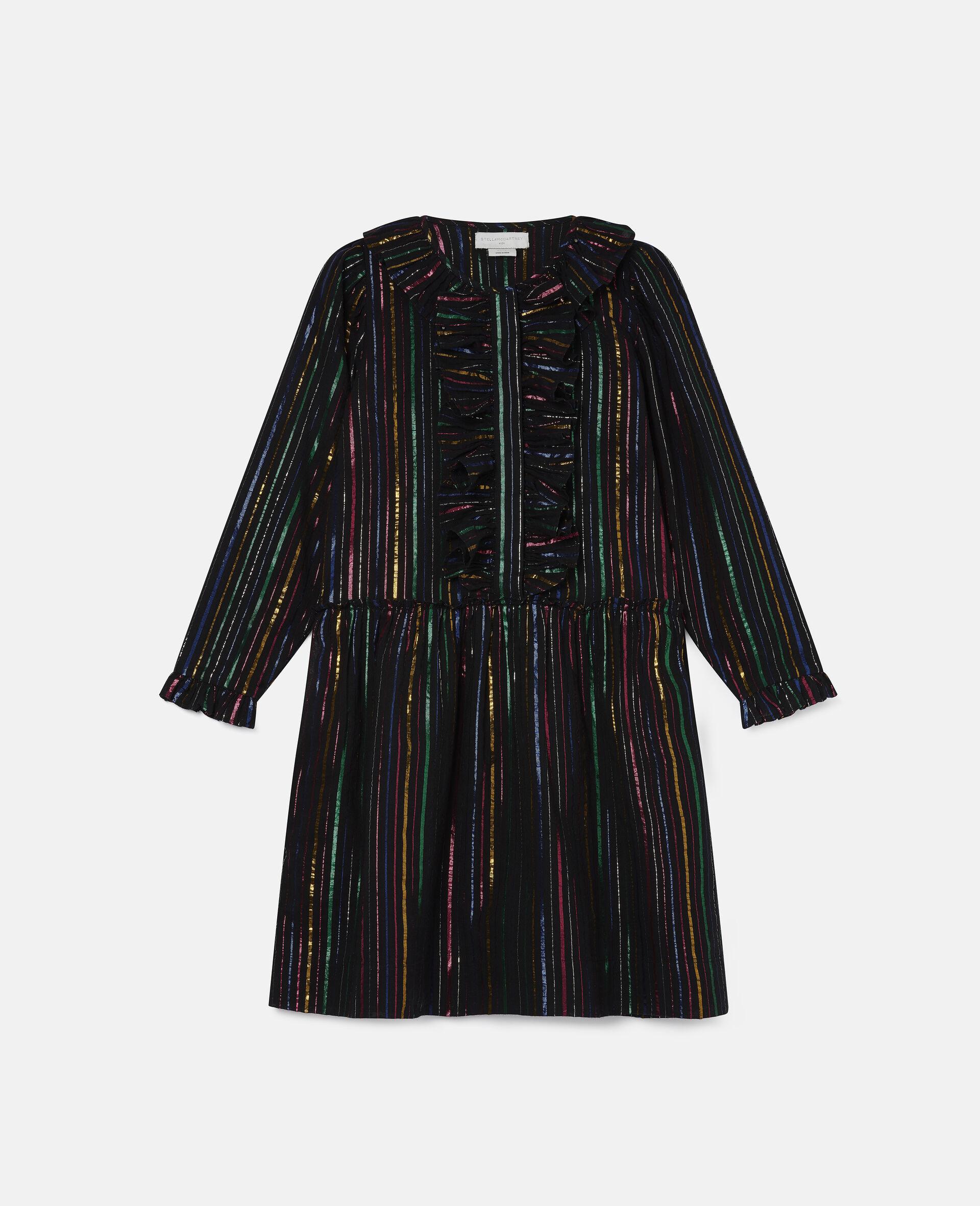 Rainbow Lurex Striped Cotton Dress-Black-large image number 0