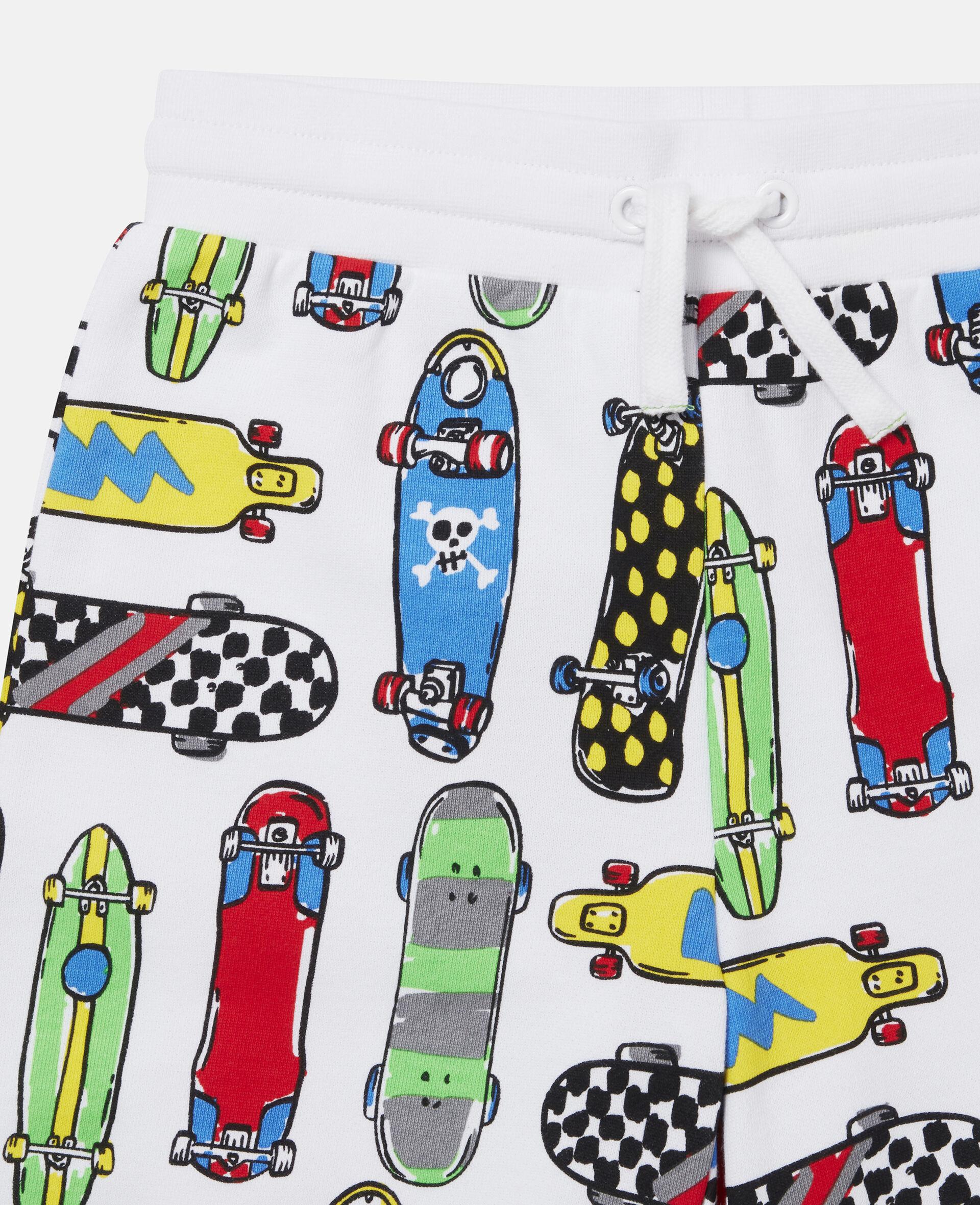 Fleece-Shorts mit Skateboardmotiv-Weiß-large image number 1