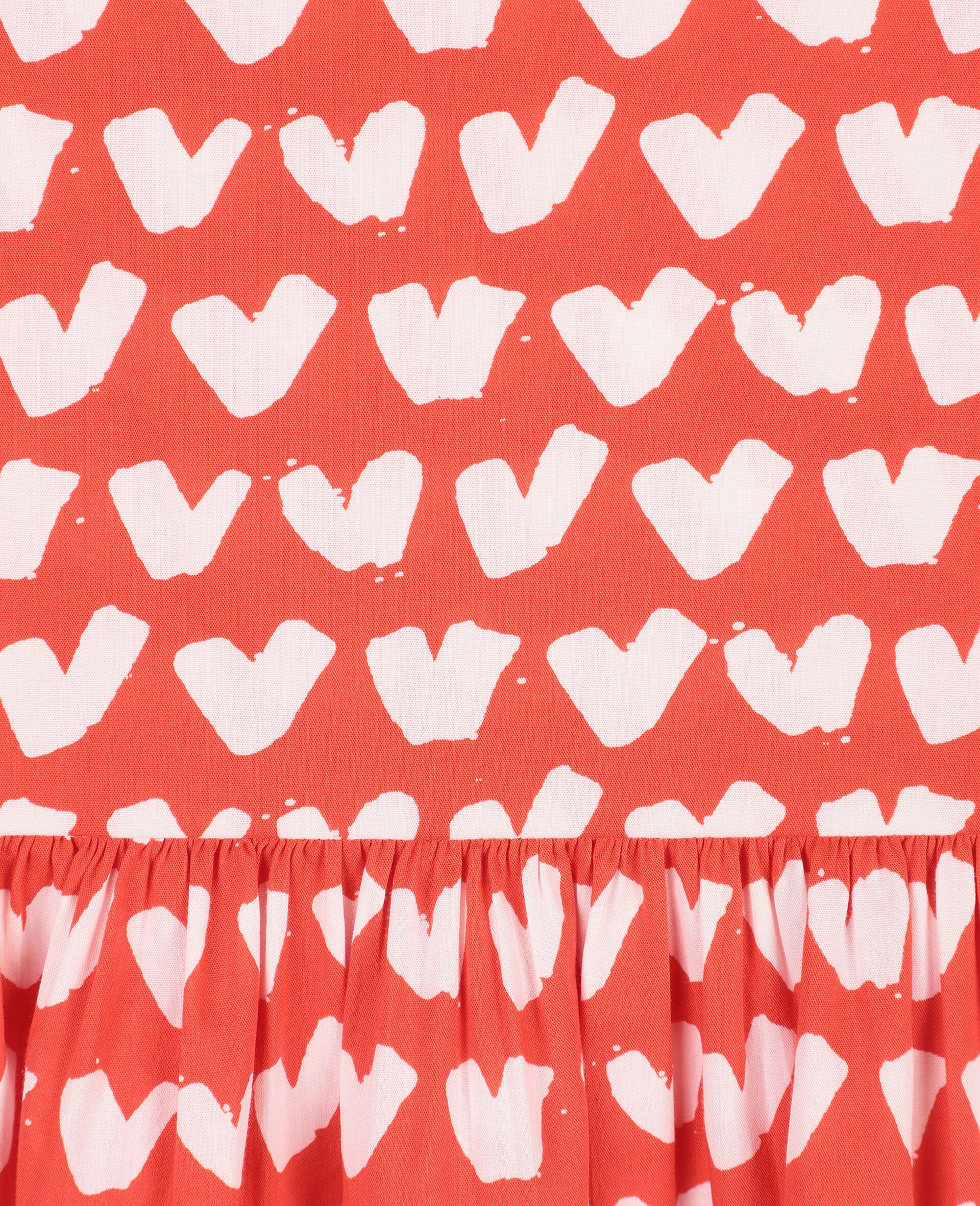 Hearts Cotton Dress -Red-large image number 1