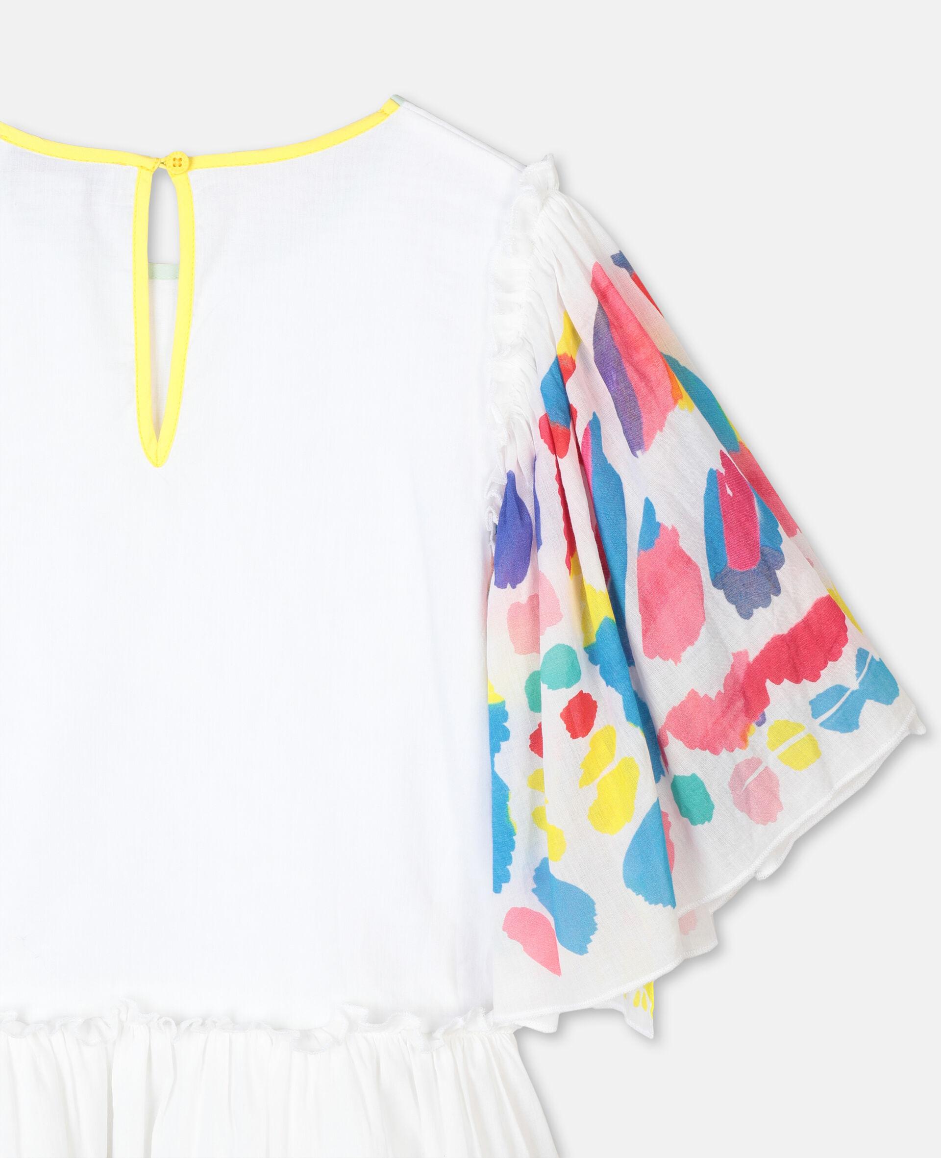 Weites Baumwollkleid mit Schmetterlingen-Weiß-large image number 2