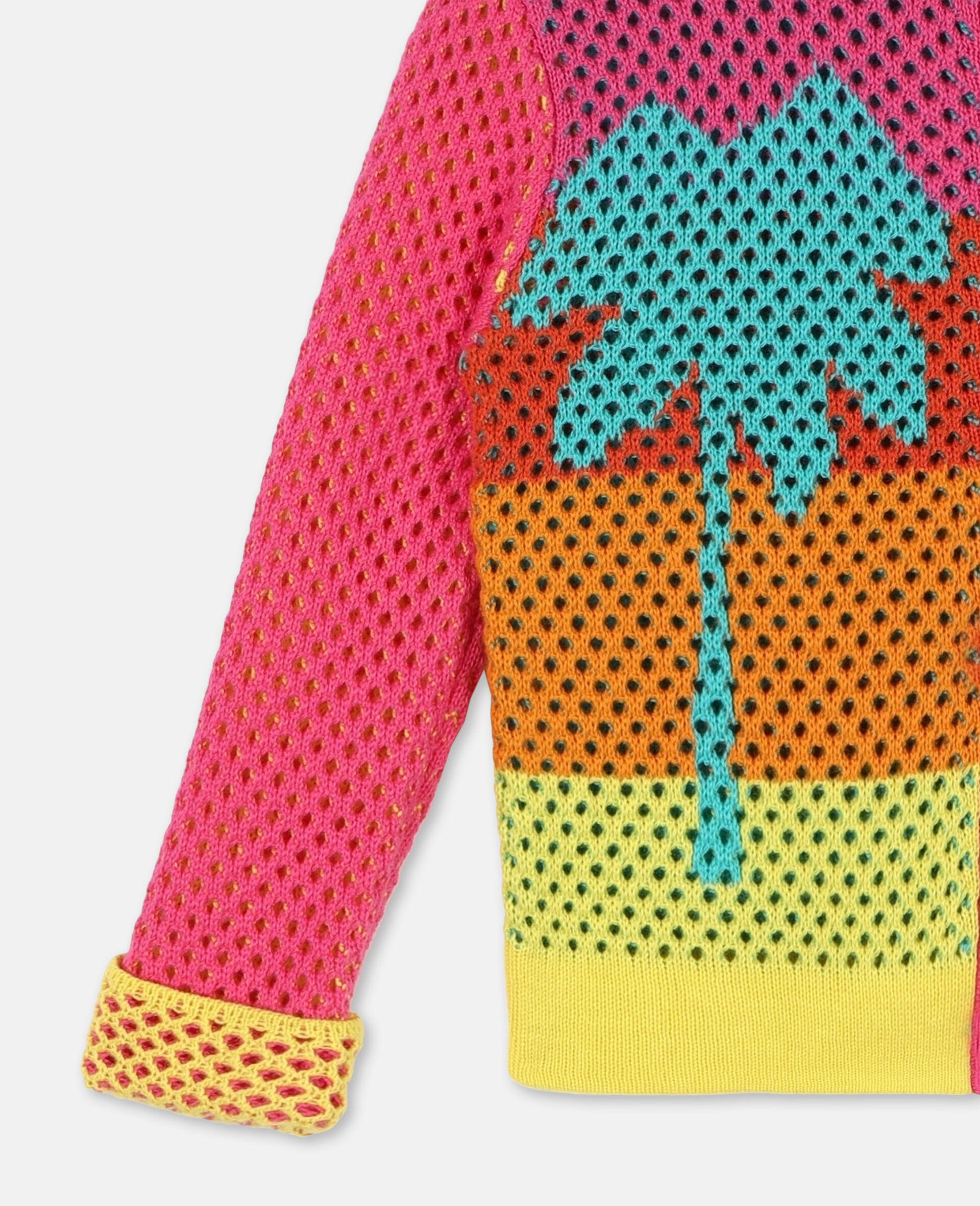 Intarsia Mesh Knit Cotton Cardigan-Multicolour-large image number 1