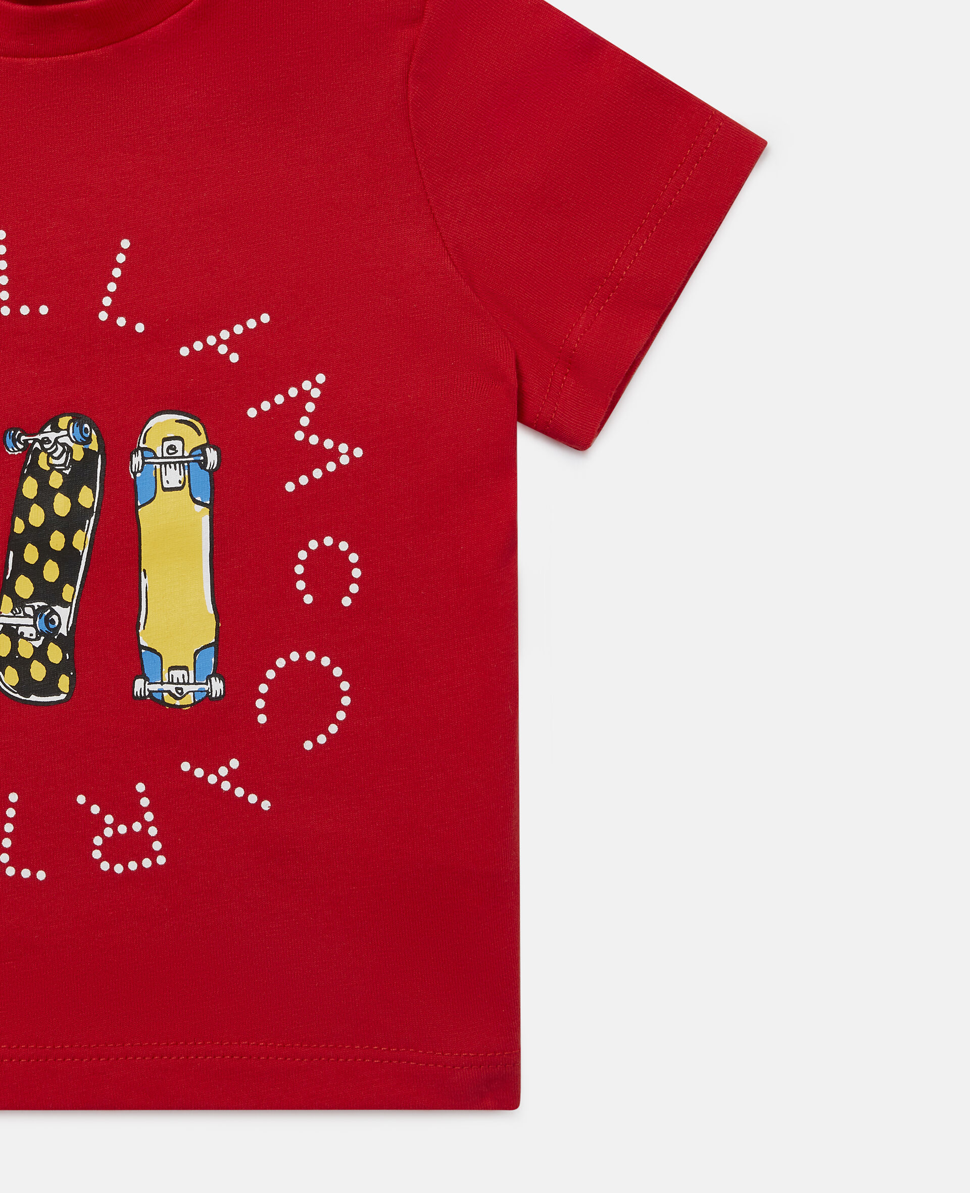 Baumwoll-T-Shirt mit Skateboardmotiv-Rot-large image number 1