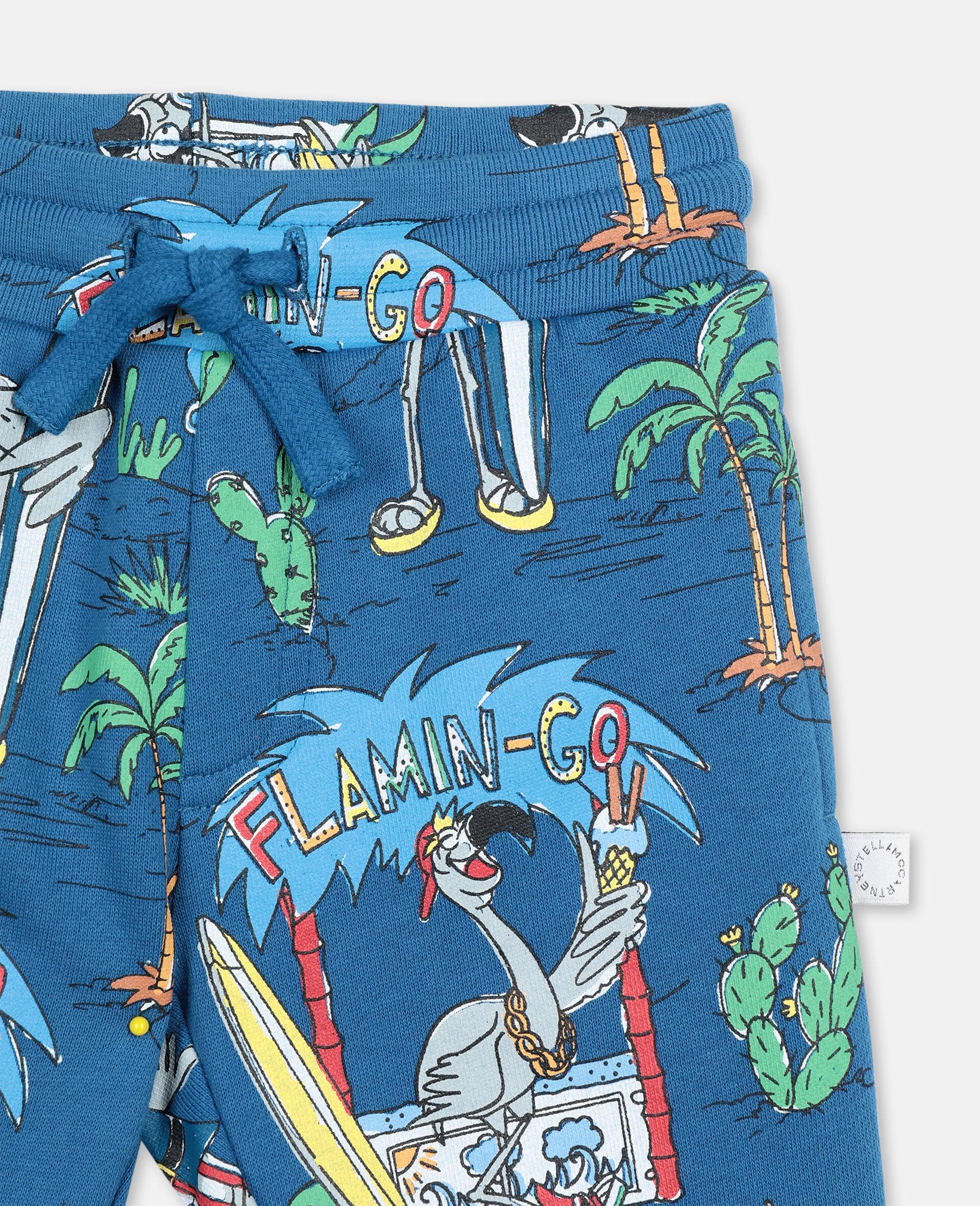 Pantalon de jogging à motif planète flamants roses-Bleu-large image number 1