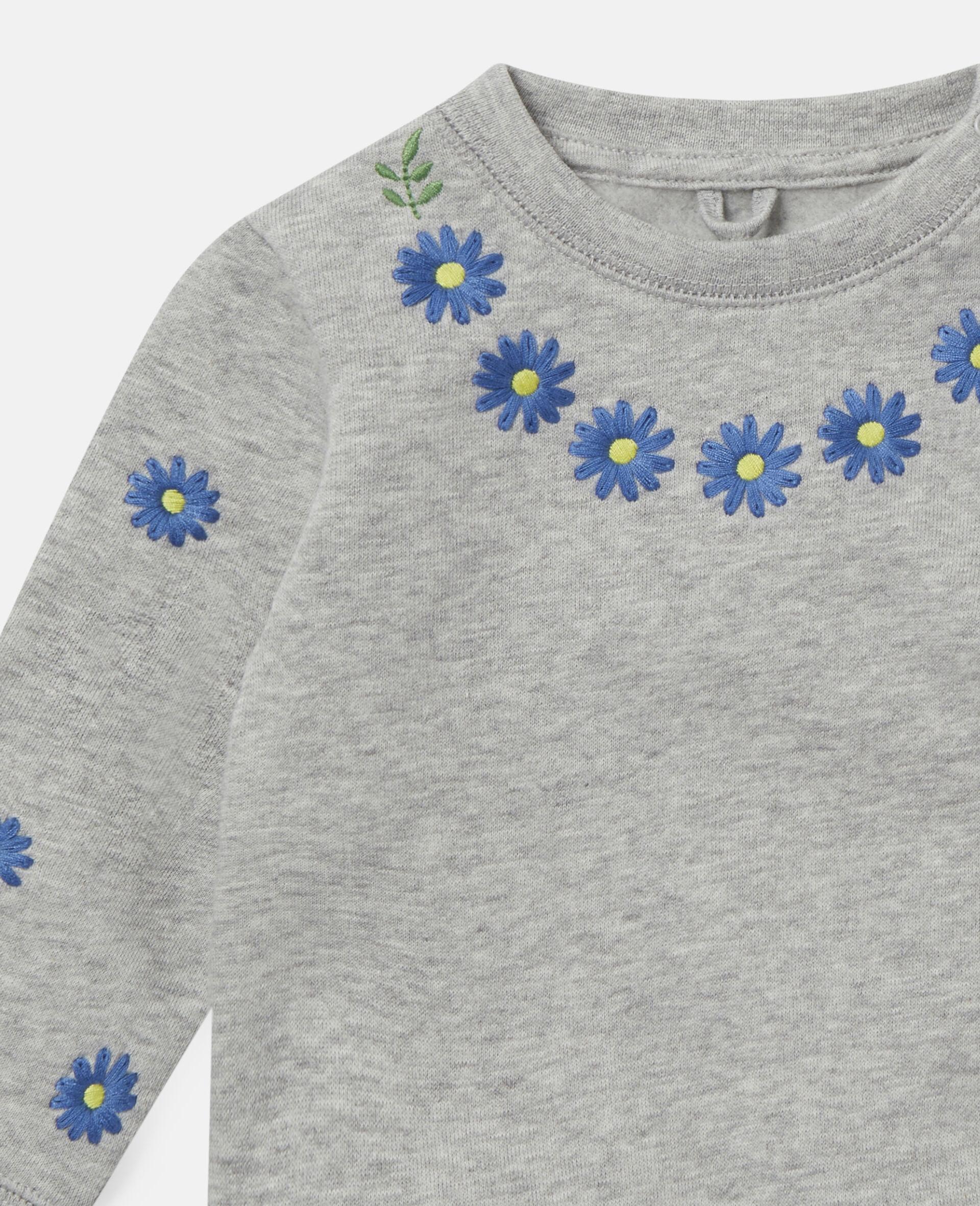 Embroidered Daisies Fleece Sweatshirt -Grey-large image number 1