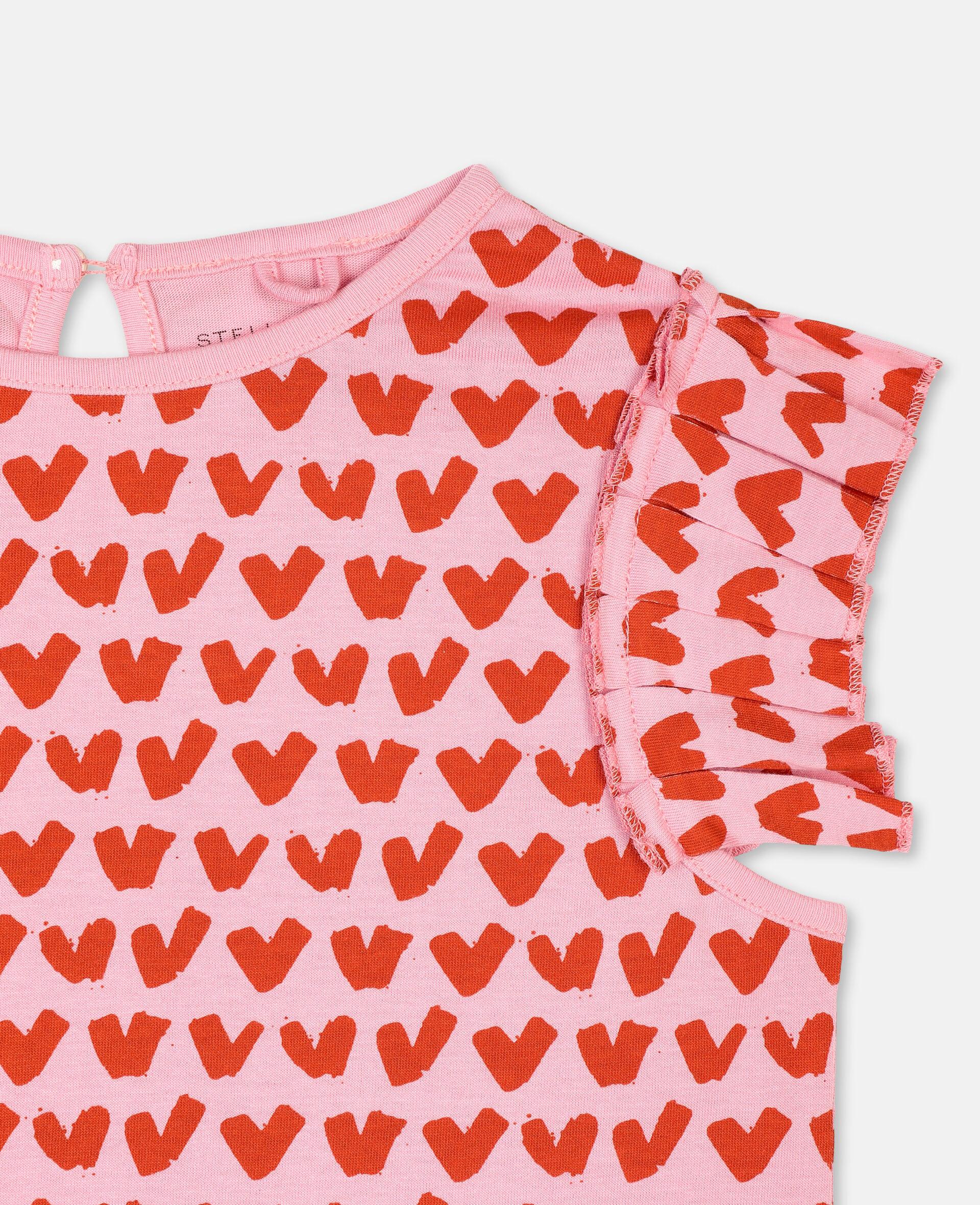 T-shirt en coton avec motif cœurs-Rose-large image number 1