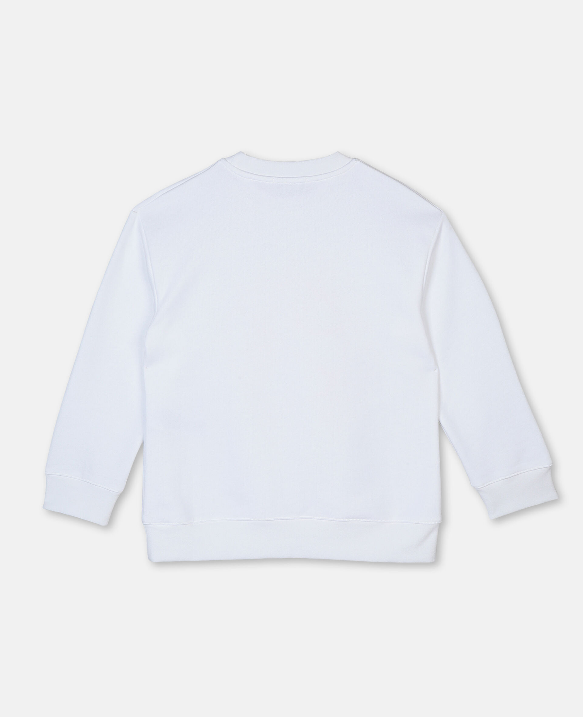 Sweat-shirt oversize en coton à motif ballon de basket -Blanc-large image number 3