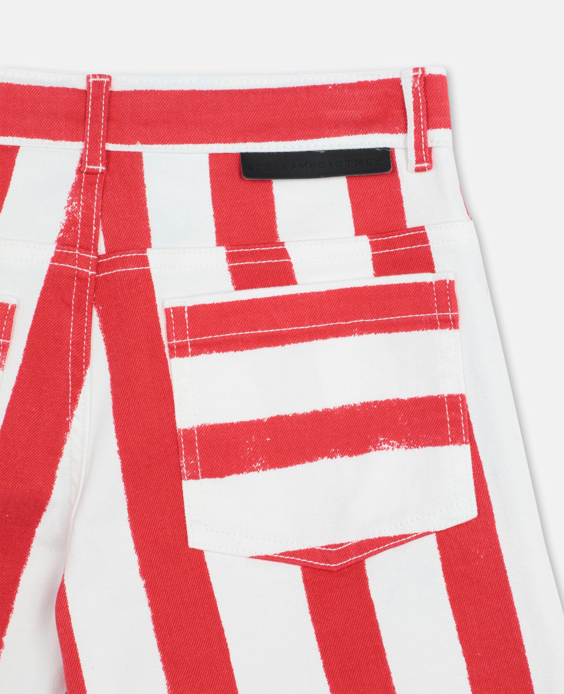 Striped Denim Shorts -Multicoloured-large image number 2