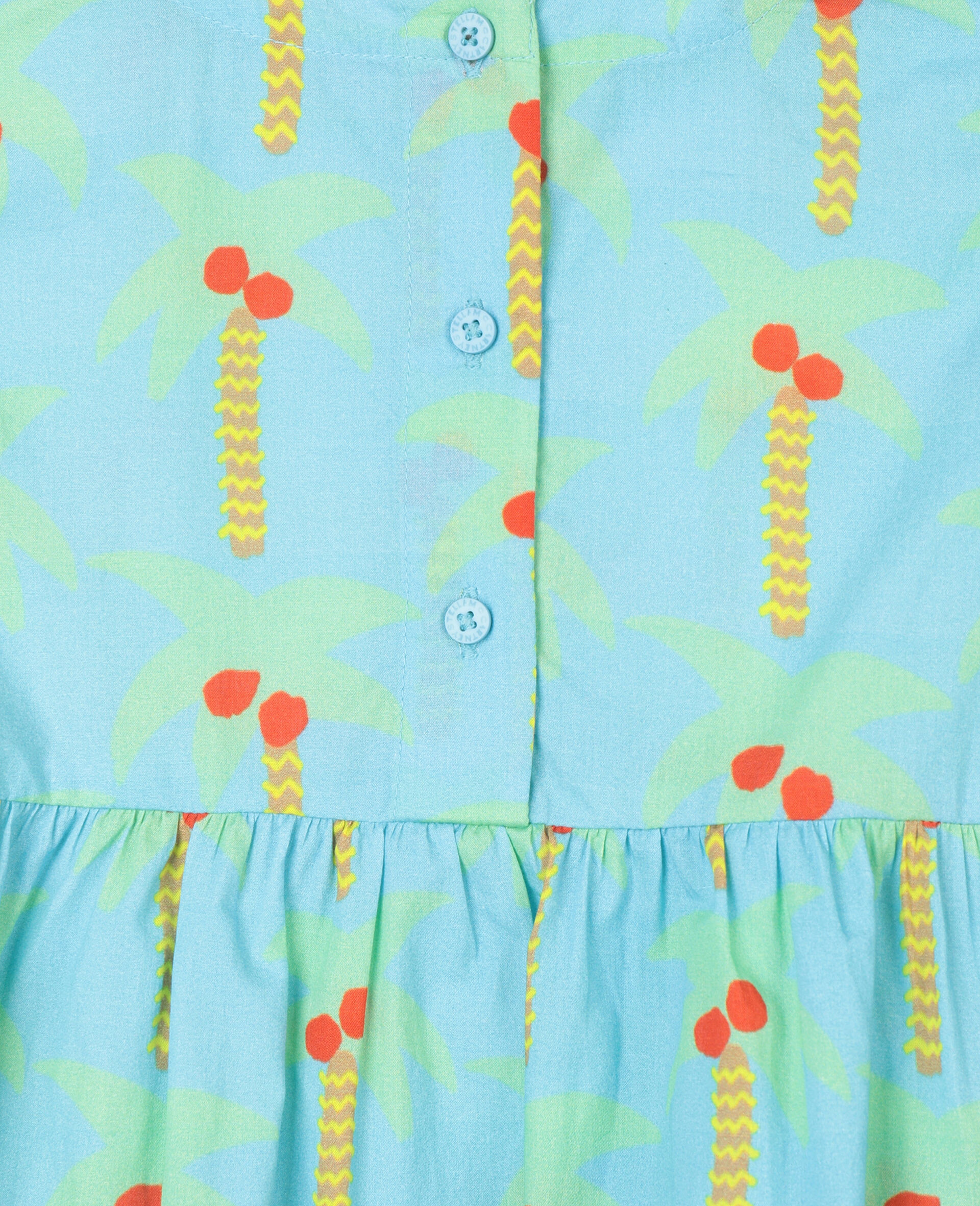 Palm Trees Cotton Dress-Green-large image number 2