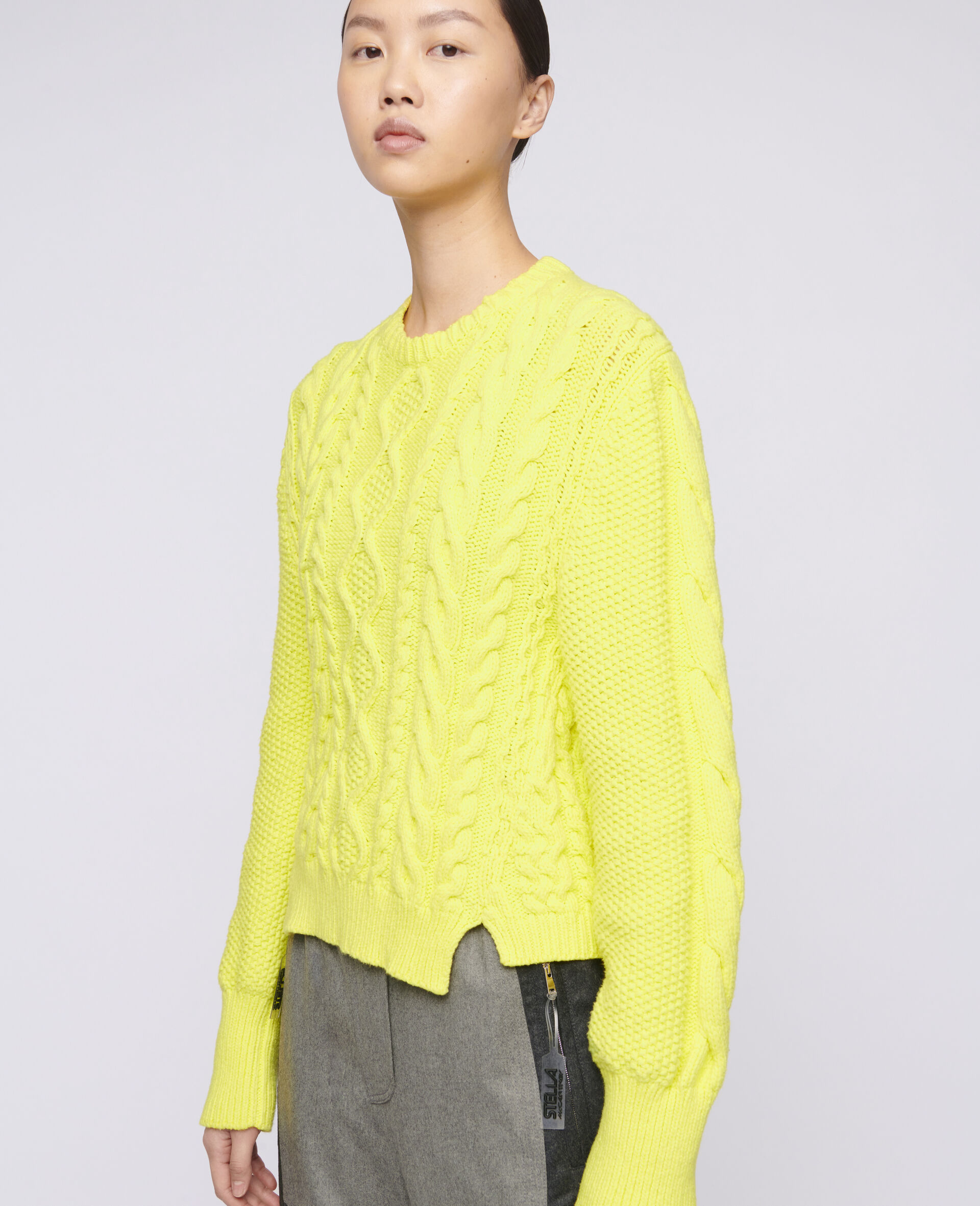 Aran Stitch Cropped Jumper-Yellow-large image number 3