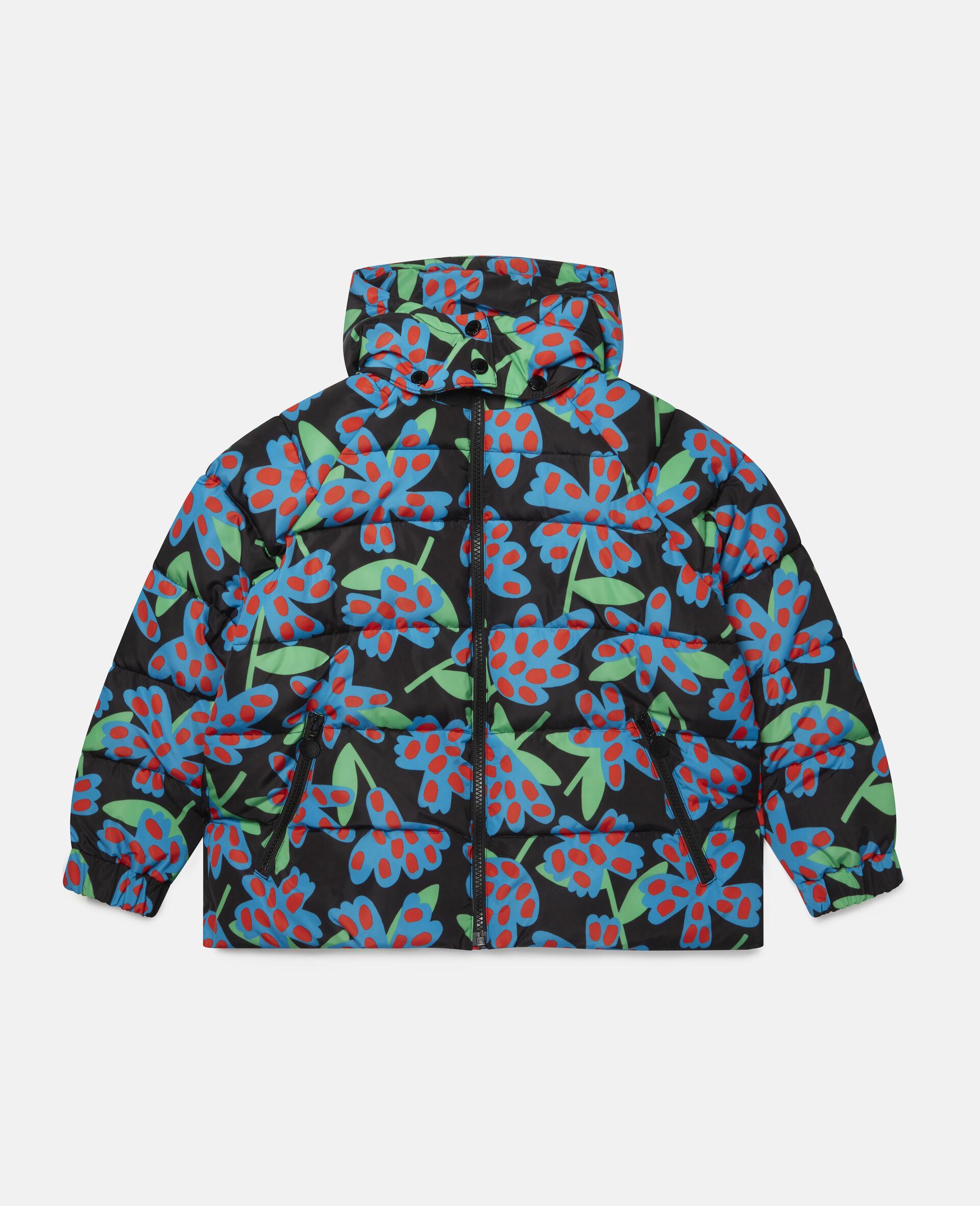 Doudoune à capuche motif fleurs à pois -Bleu-large image number 0