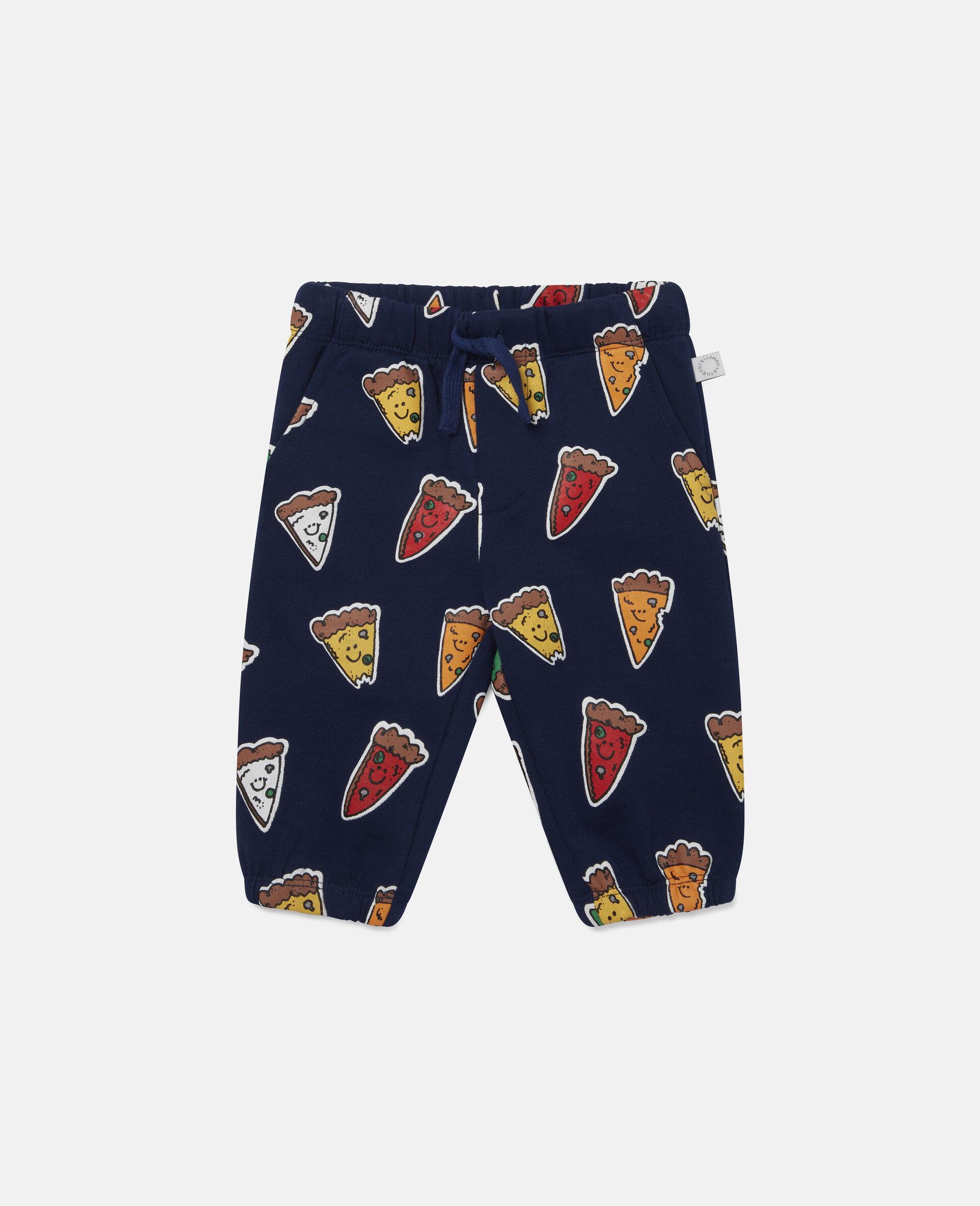 Fleece-Jogginghosen mit Pizzamotiv-Blau-large image number 0
