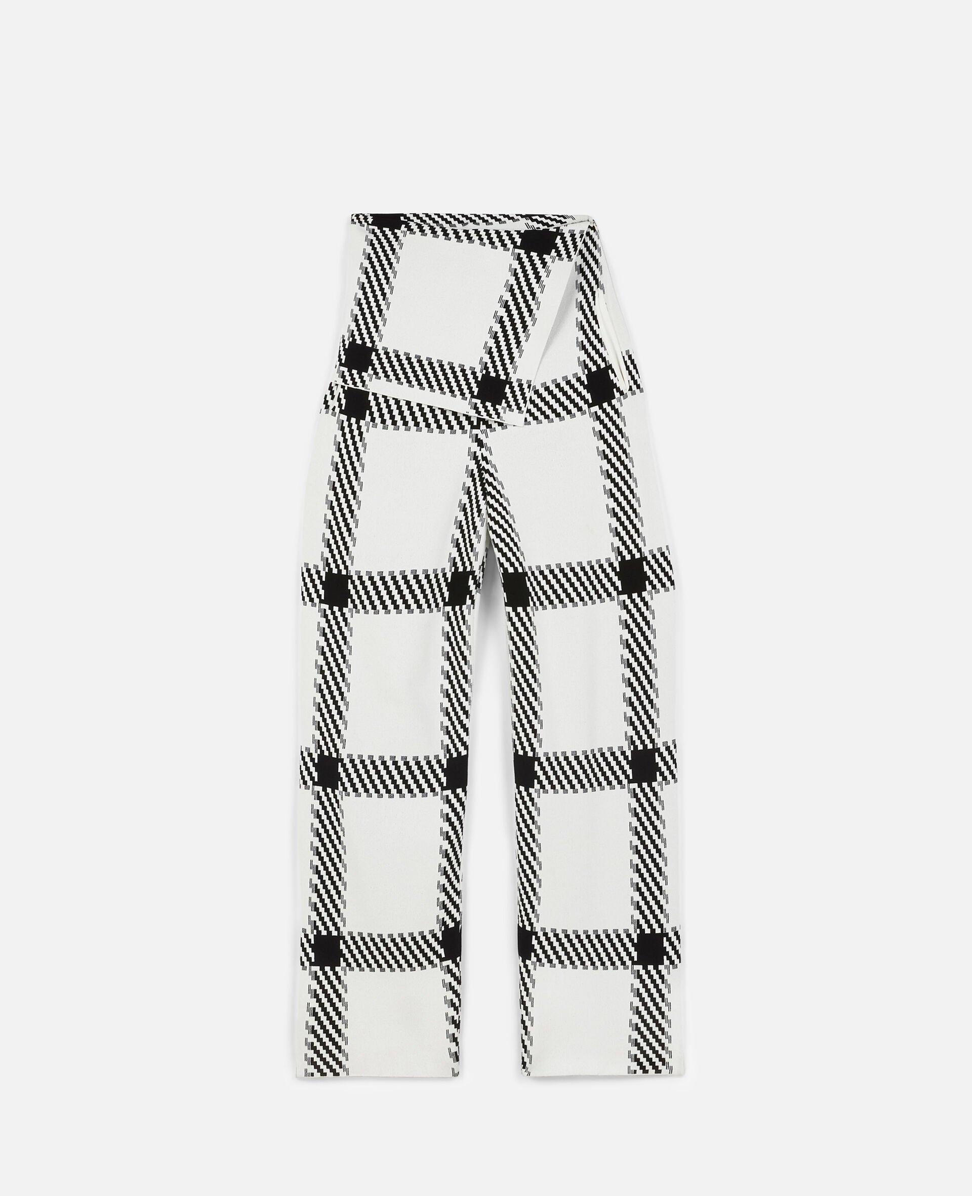 Pantalon en maille à carreaux-Blanc-large image number 0