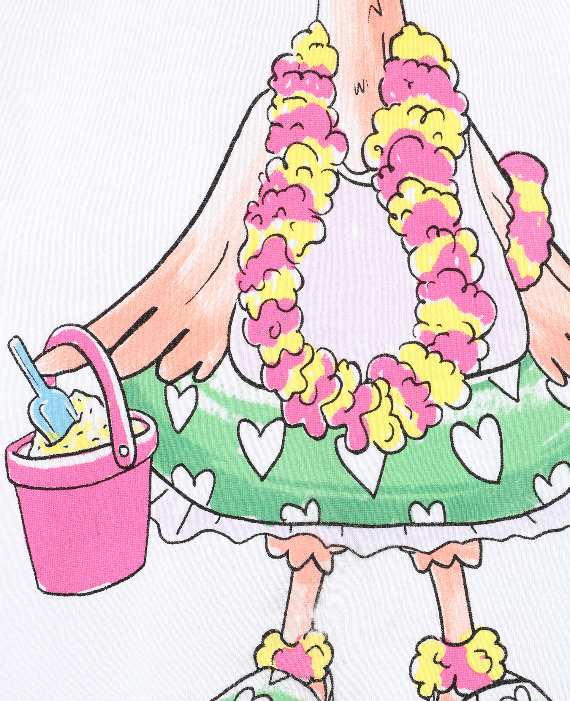 Trompe-L'Oeil Flamingo Cotton T-shirt -White-large image number 1