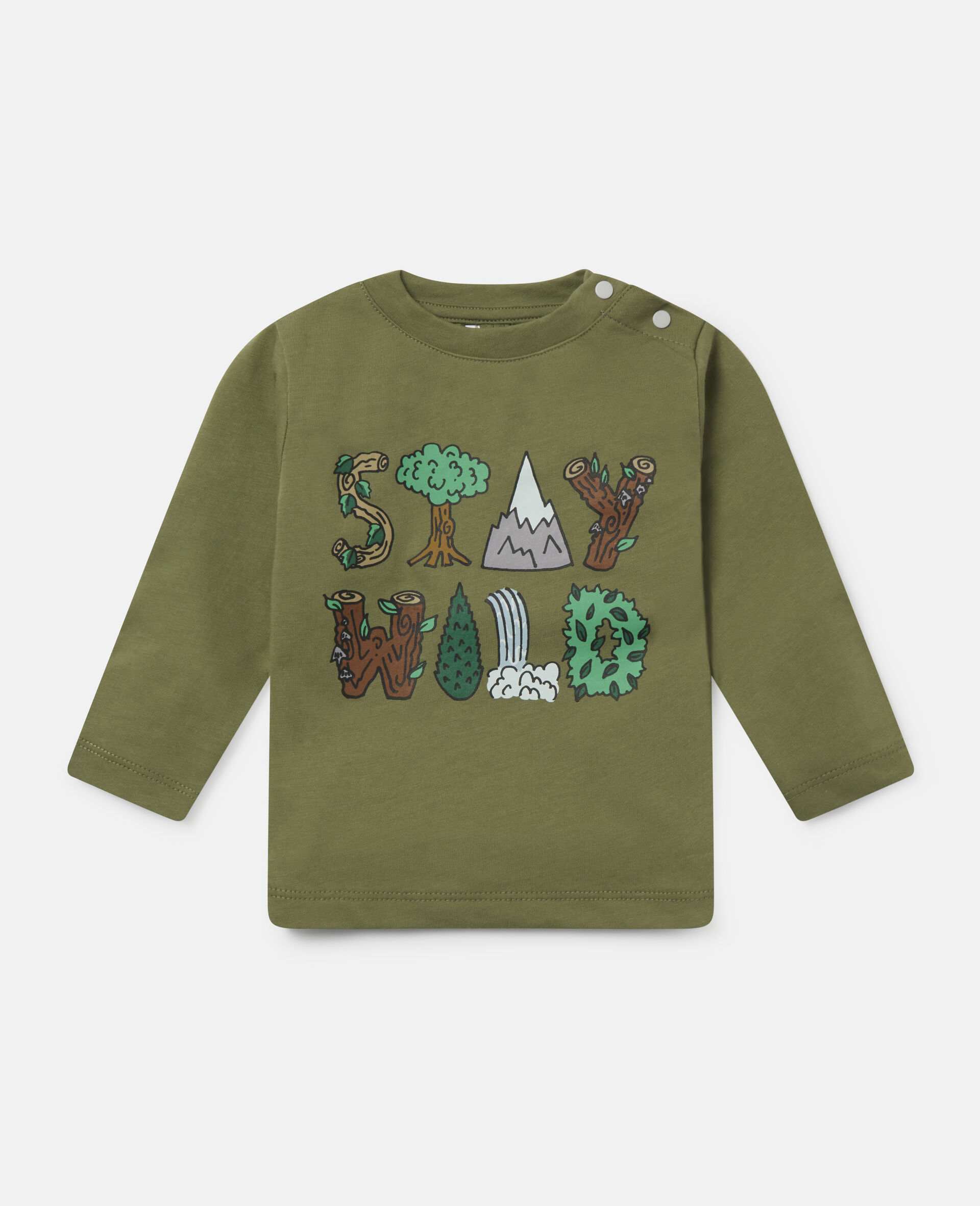 'Stay Wild' Cotton Top-Green-large image number 0