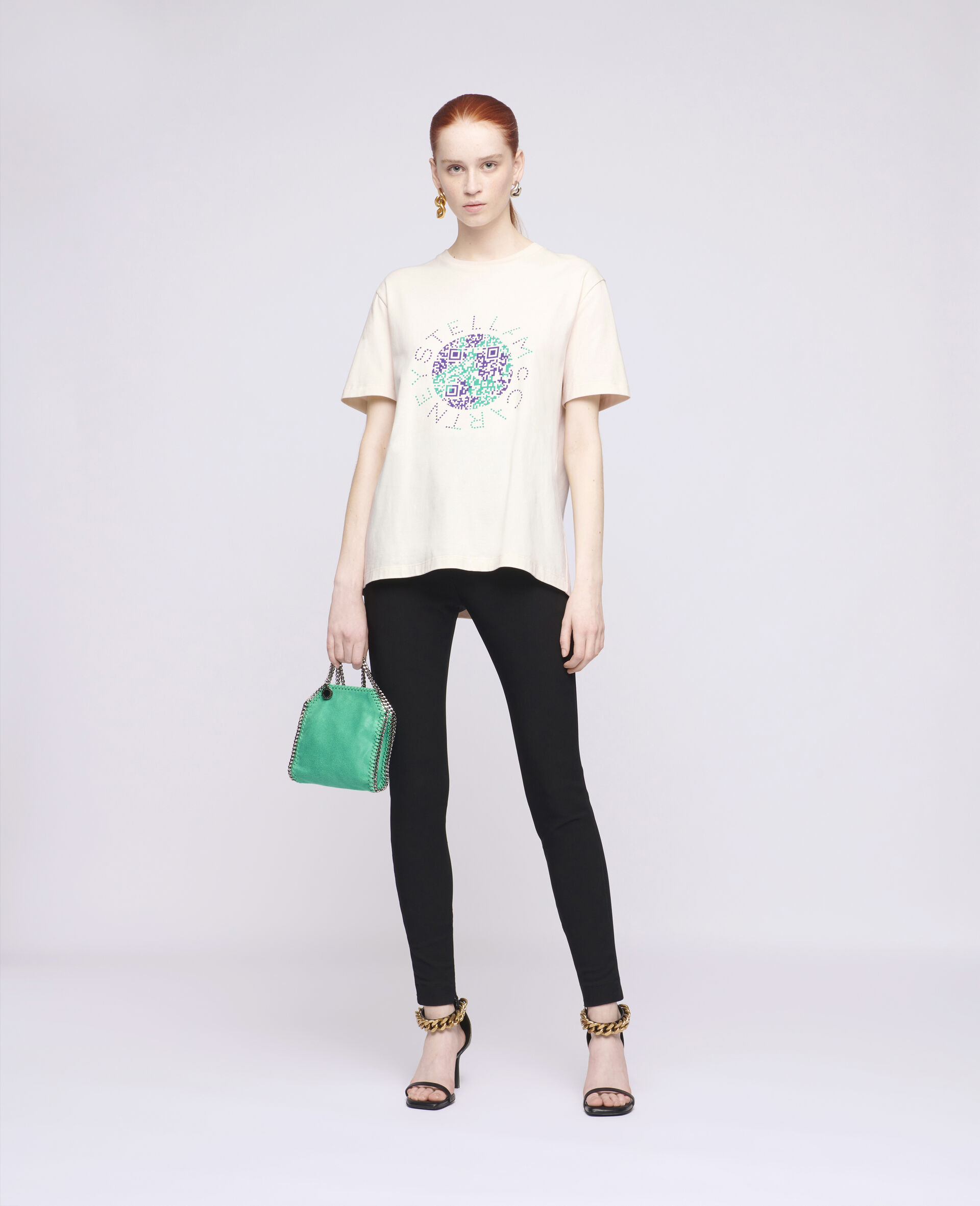 Earth Print Cotton T-Shirt-White-large image number 1