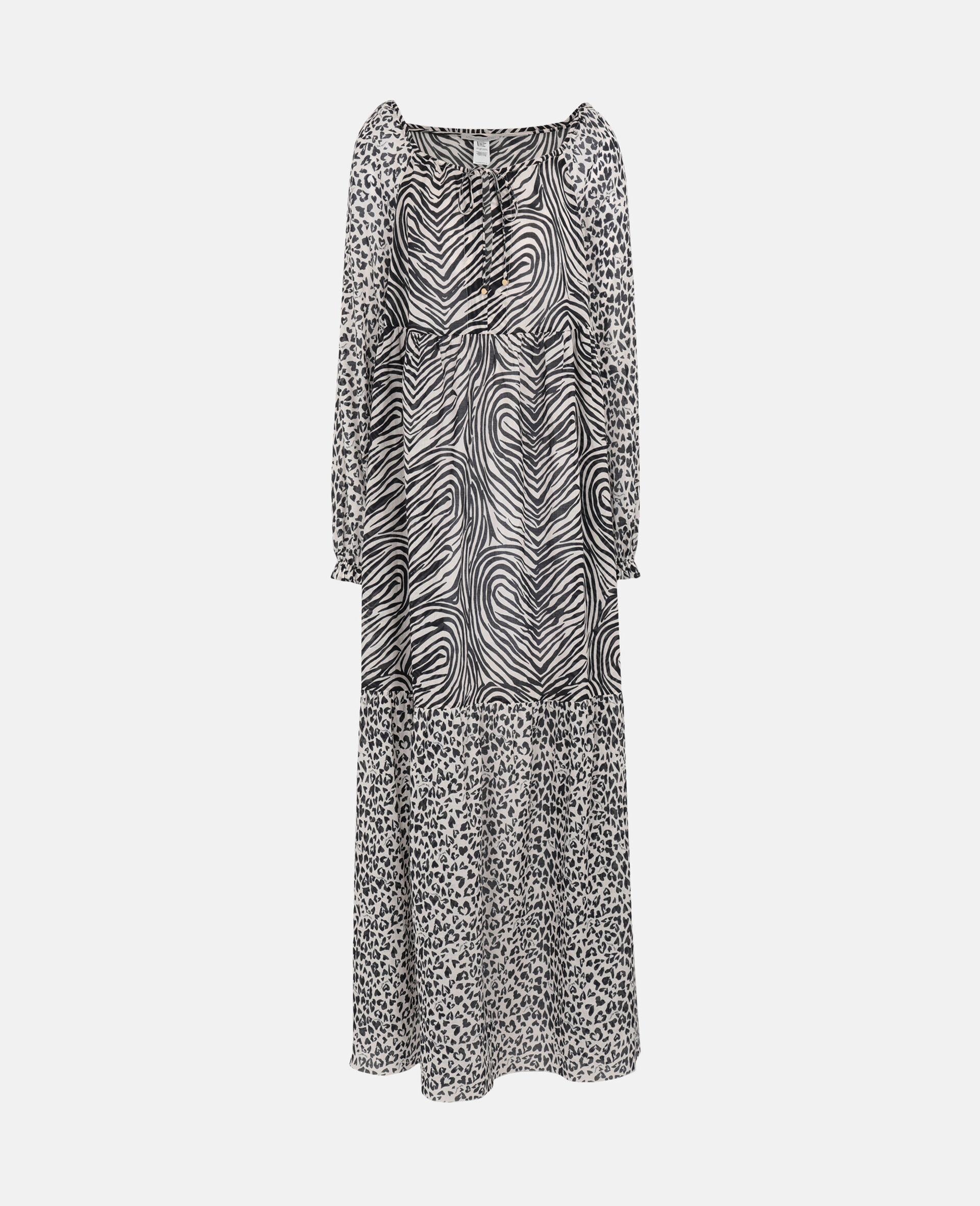 Langes Kleid mit Animal-Print-Mix-Schwarz-large image number 0