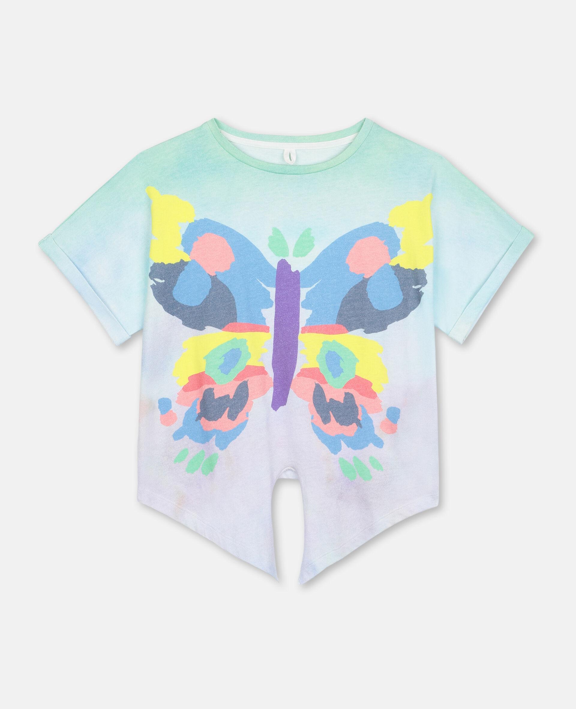 Baumwoll-T-Shirt mit Schmetterling-Print-Bunt-large image number 0