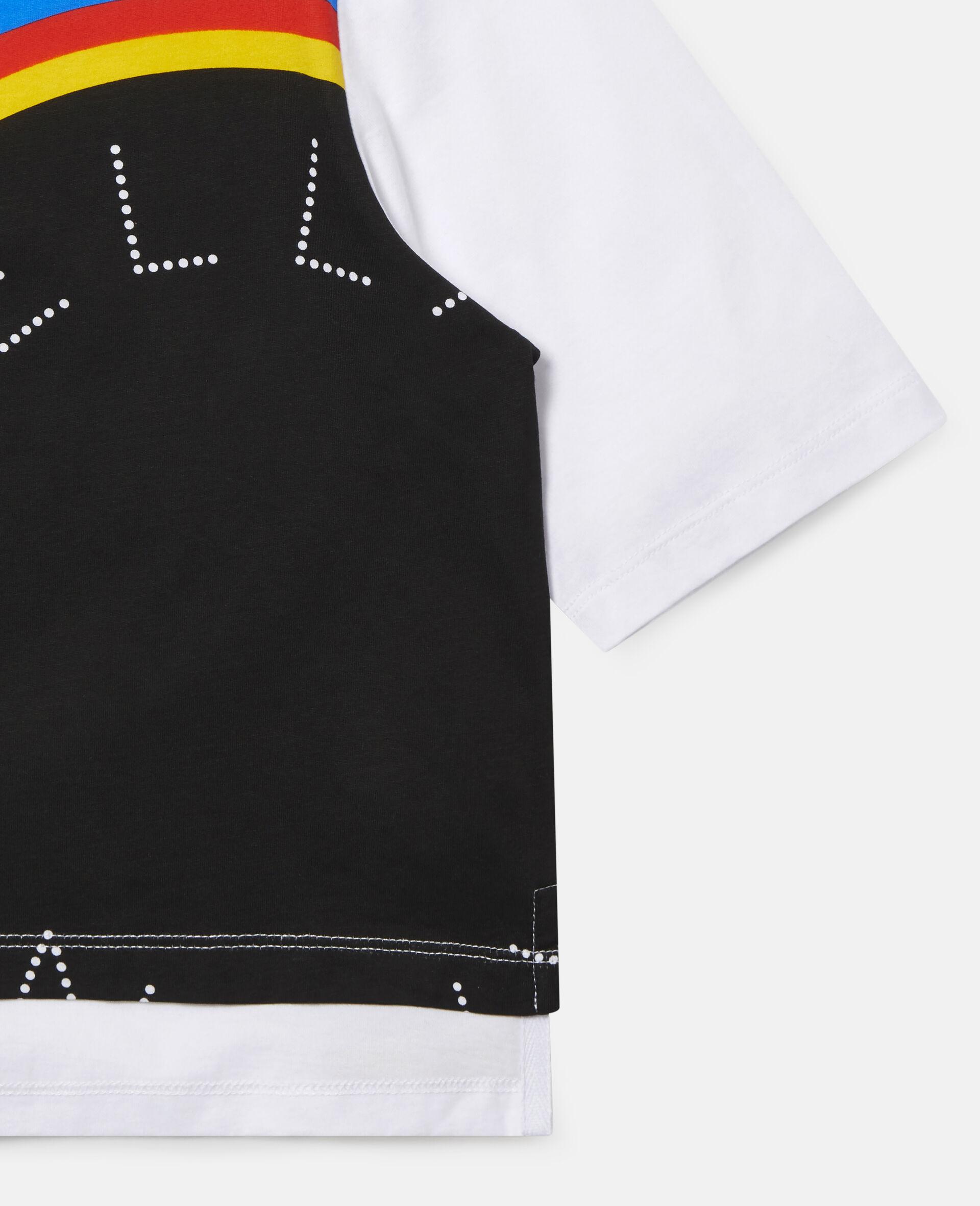 Stripy Logo Oversize Sports T-shirt -White-large image number 1