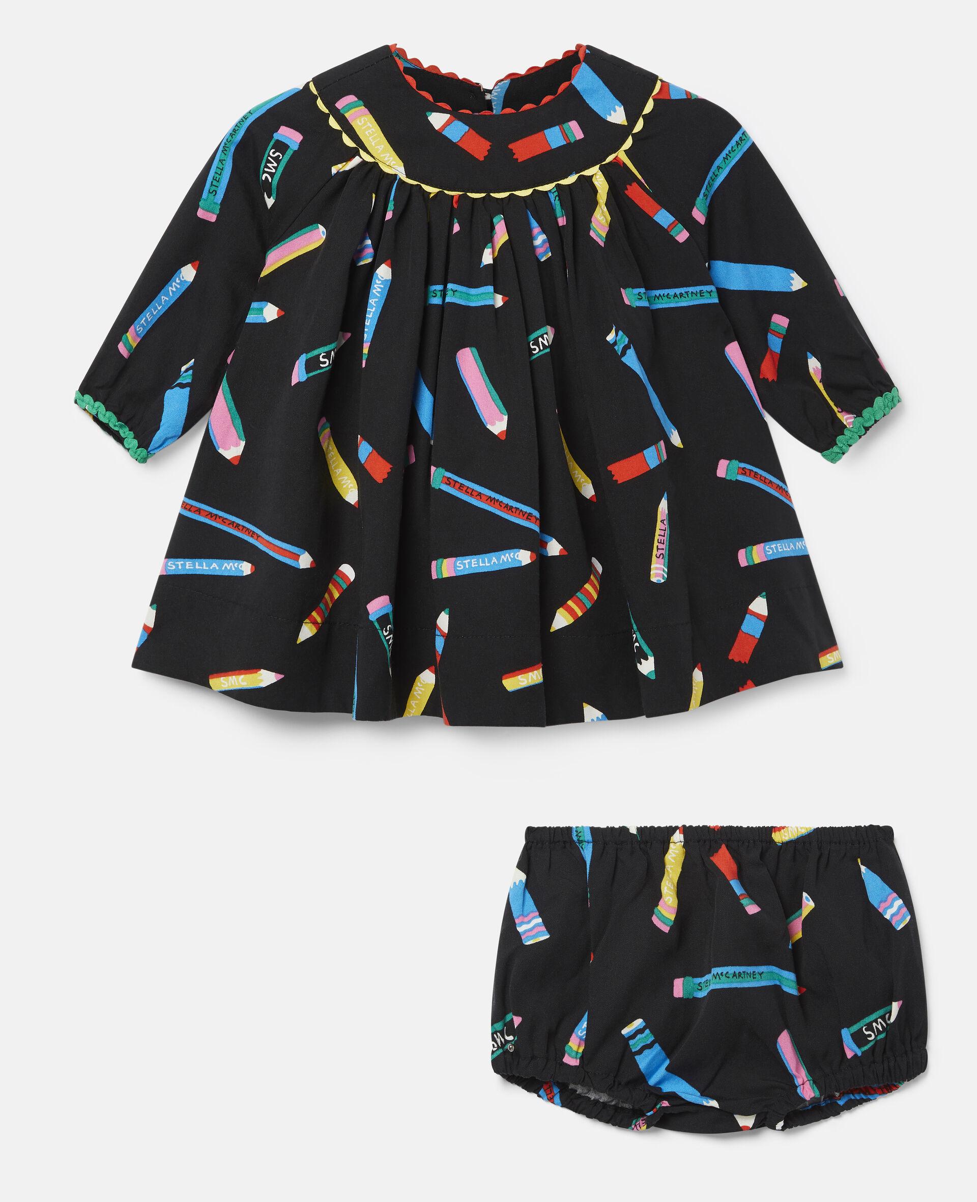 Kleid aus Twill mit Stifte-Print-Schwarz-large image number 0