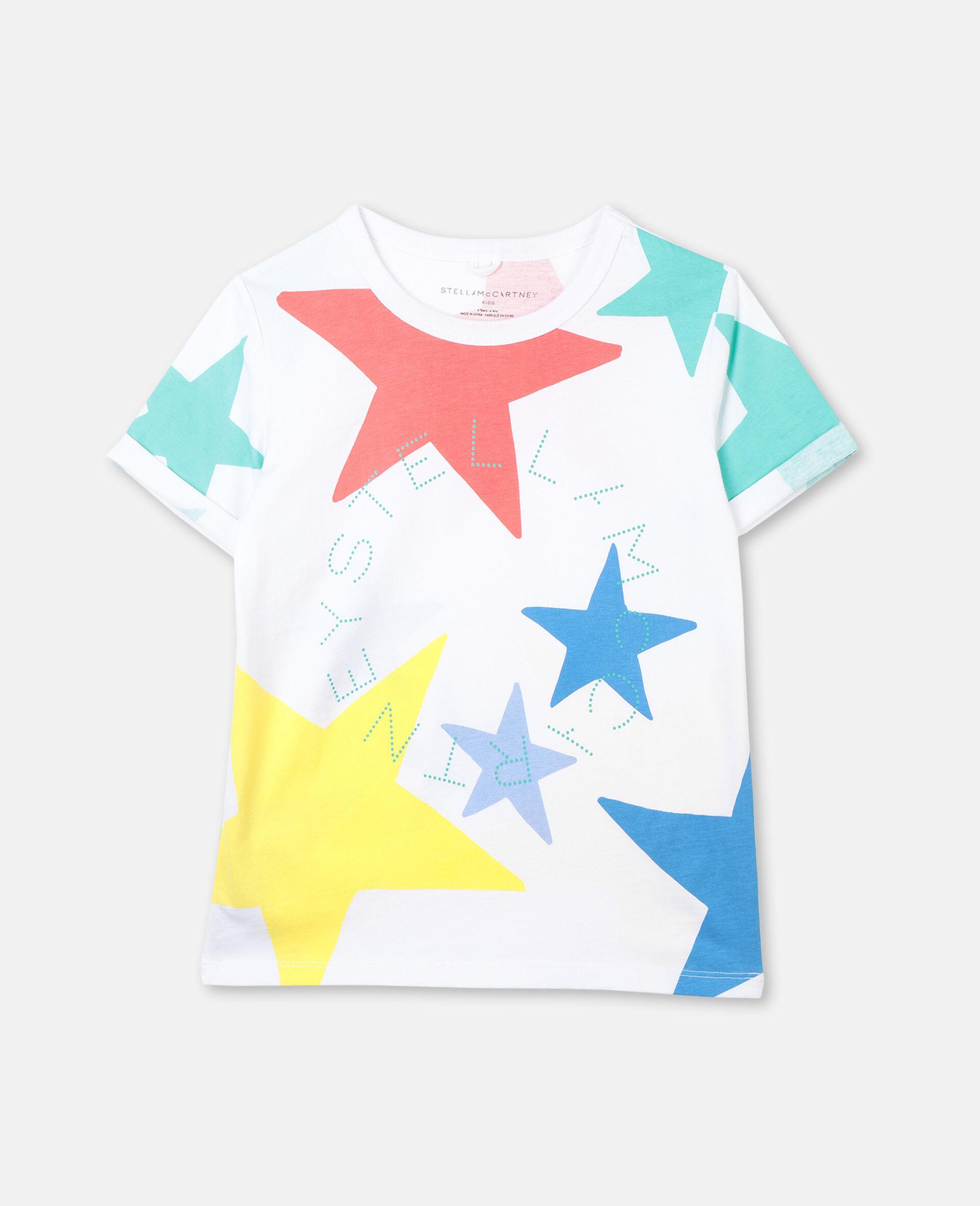 Baumwoll-T-Shirt mit bunten Sternen-Weiß-large image number 0